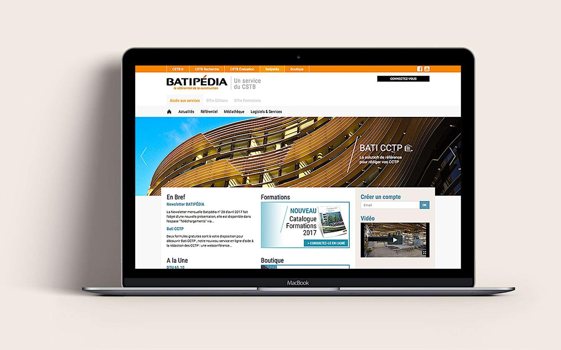 Portail d'informations et de service Batipédia. © CSTB