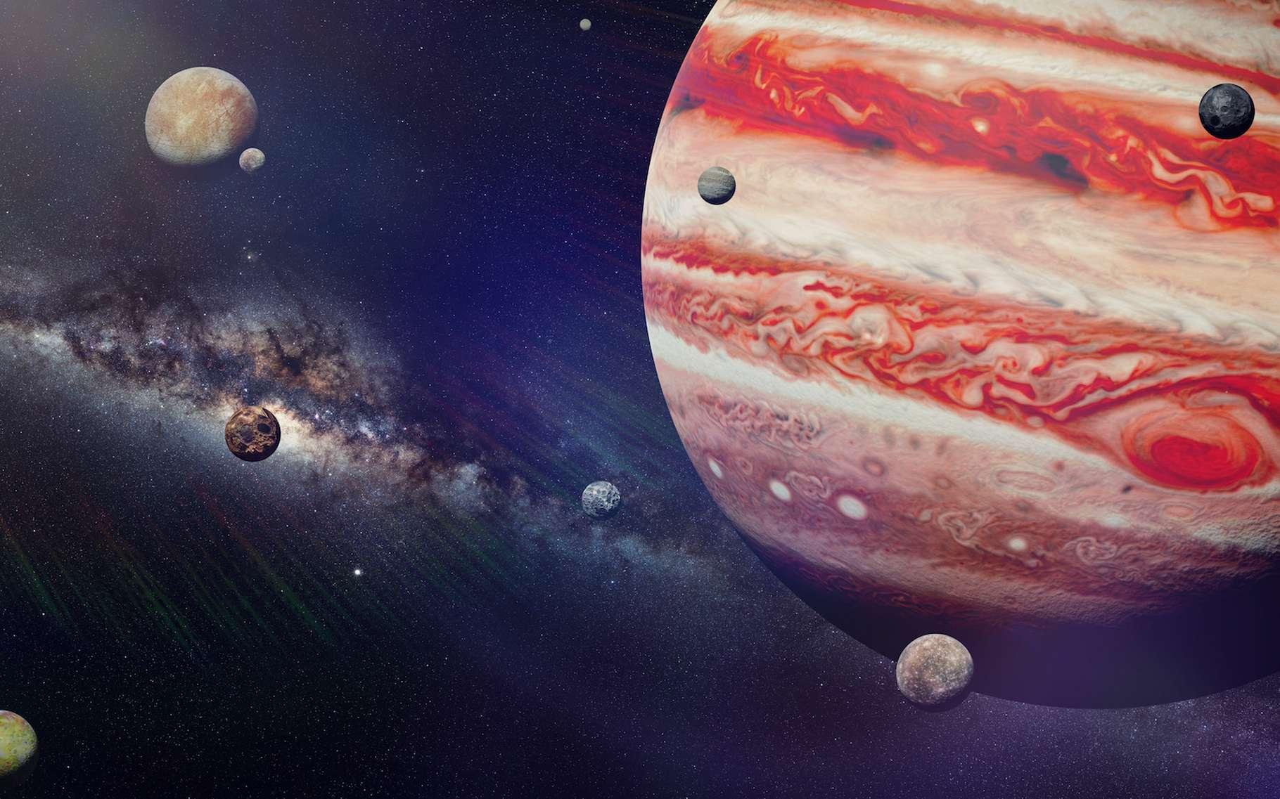 Jupiter aurait plus de lunes que les astronomes le pensaient. Le nombre pourrait même monter jusqu'à 600, avancent des chercheurs de l'université de Colombie britannique (Canada). © Dottedyeti, Adobe Stock