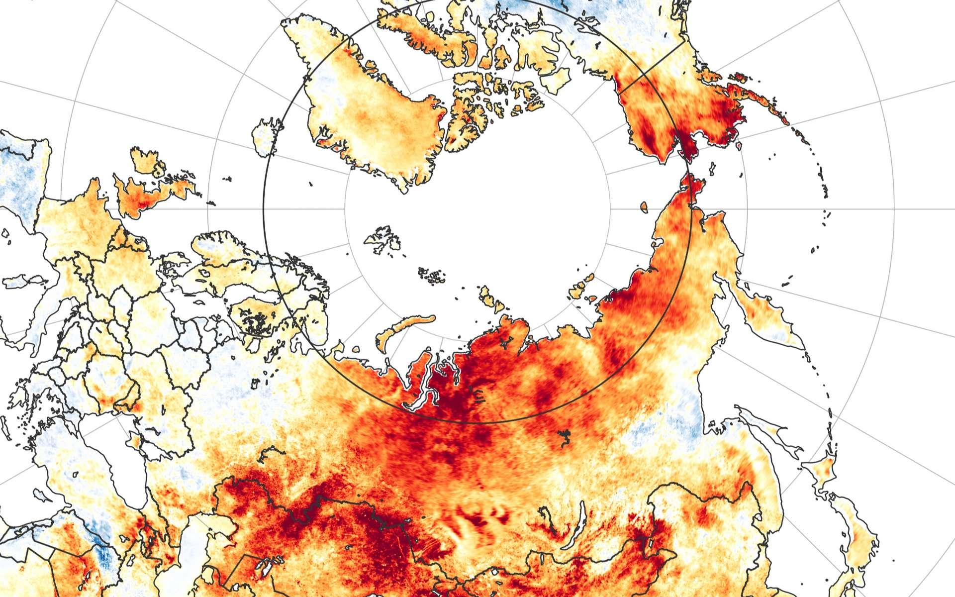 Canicules et incendies en Arctique au cours de l'été 2020. © Nasa, EarthObservatory
