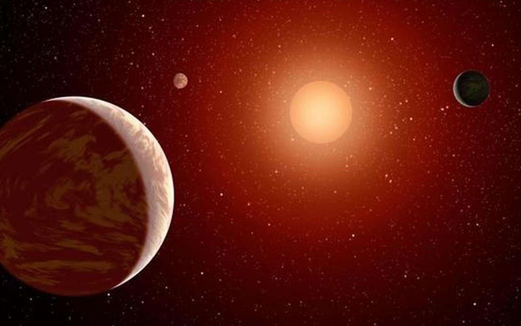 Une simulation informatique montre aux astronomes de l'université du Central Lancashire (UCLan - Royaume-Uni) que des planètes géantes peuvent se former autour d'étoiles naines rouges en un temps record. Ici, une vue d'artiste d'une naine rouge entourée de trois planètes. © Nasa