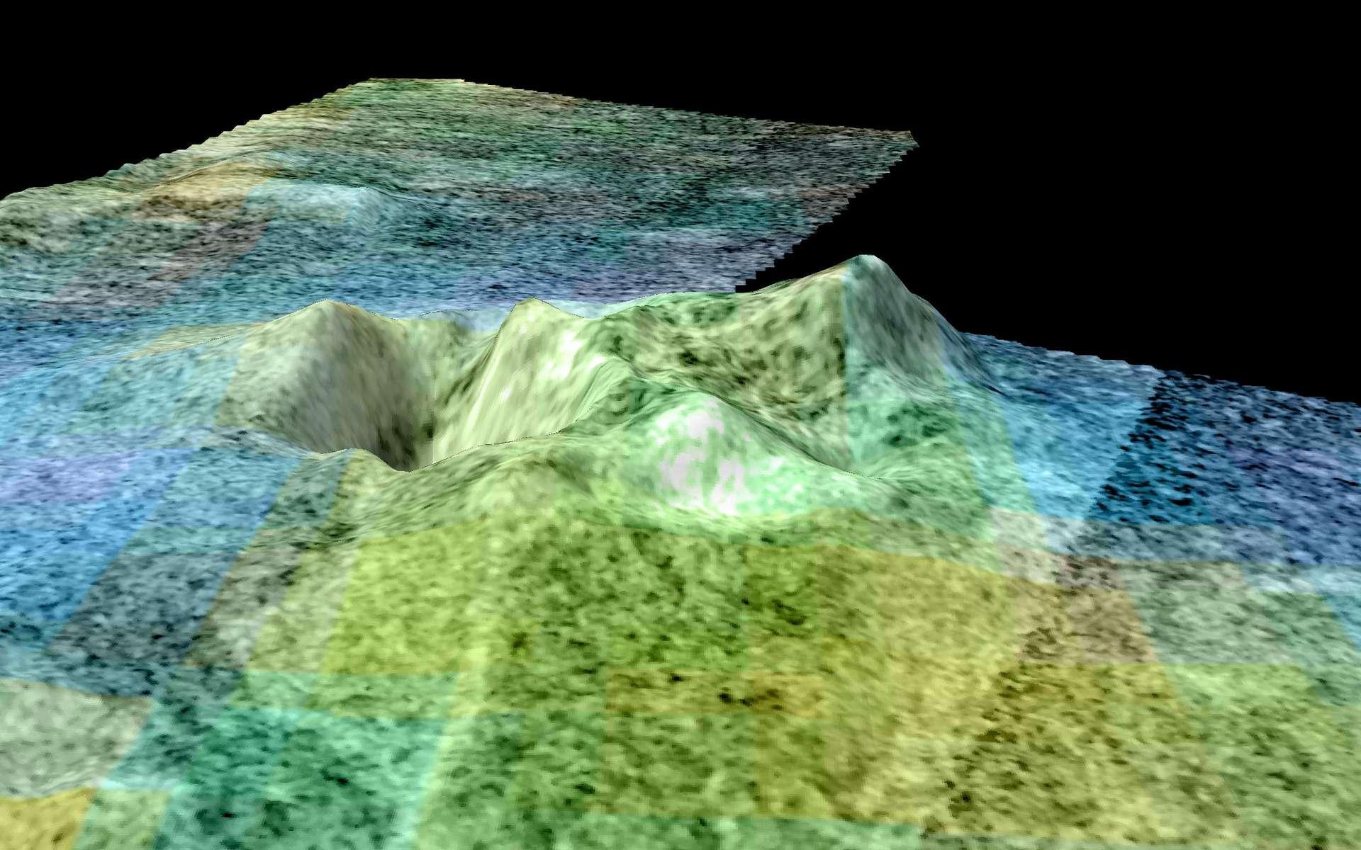 On pense depuis quelques années que Sotra Patera, sur Titan, anciennement appelée Sotra Facula, est un cryovolcan sous la forme d'une caldeira. Presque circulaire et mesurant environ 65 kilomètres de diamètre, il possède deux pics d'environ 1.000 et 1.500 mètres de hauteur. © Nasa/JPL-Caltech/ASI/USGS/University of Arizona