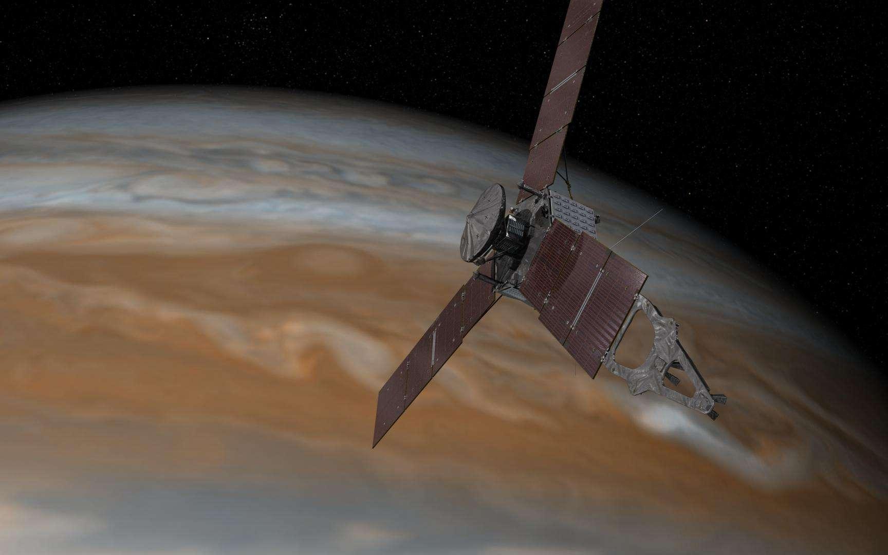 Vue d'artiste de Juno dans la banlieue de Jupiter. Après cinq années de voyage, la sonde devrait s'insérer en orbite autour de la géante gazeuse, le 4 juillet prochain. © Nasa, JPL-Caltech