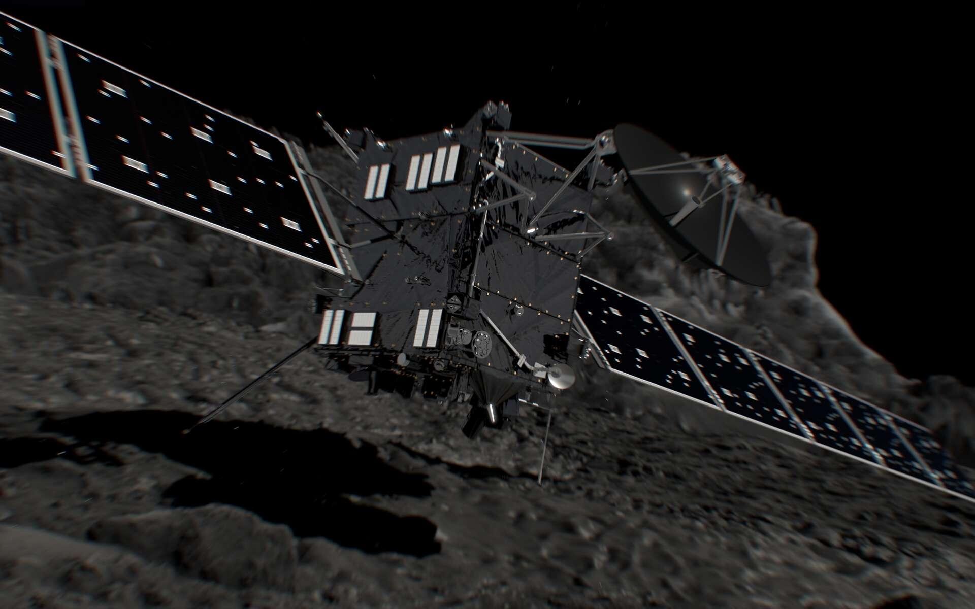 Illustration de l'atterrissage final de Rosetta sur la comète Tchouri, prévu le 30 septembre 2016 vers 13 h 20, dans la région Ma'at. © Esa, ATG medialab