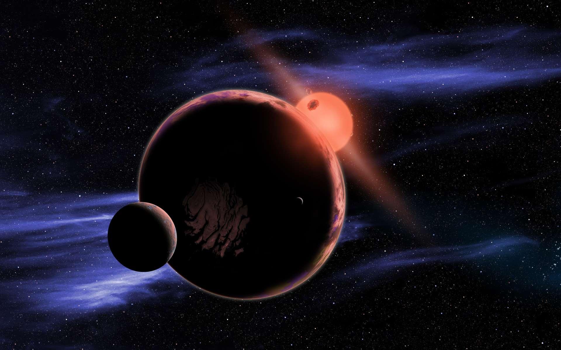 Vue d'artiste d'une exoplanète avec une lune en orbite autour d'une naine rouge. Ces étoiles vivant plus longtemps que notre Soleil, elles pourraient abriter des civilisations âgées de plusieurs milliards d'années déjà. Mais les jeunes naines rouges sont souvent colériques, ce qui rend un peu problématique l'estimation des chances de développement d'une vie complexe sur une exoterre en orbite autour d'une telle étoile. © David A. Aguilar, CfA