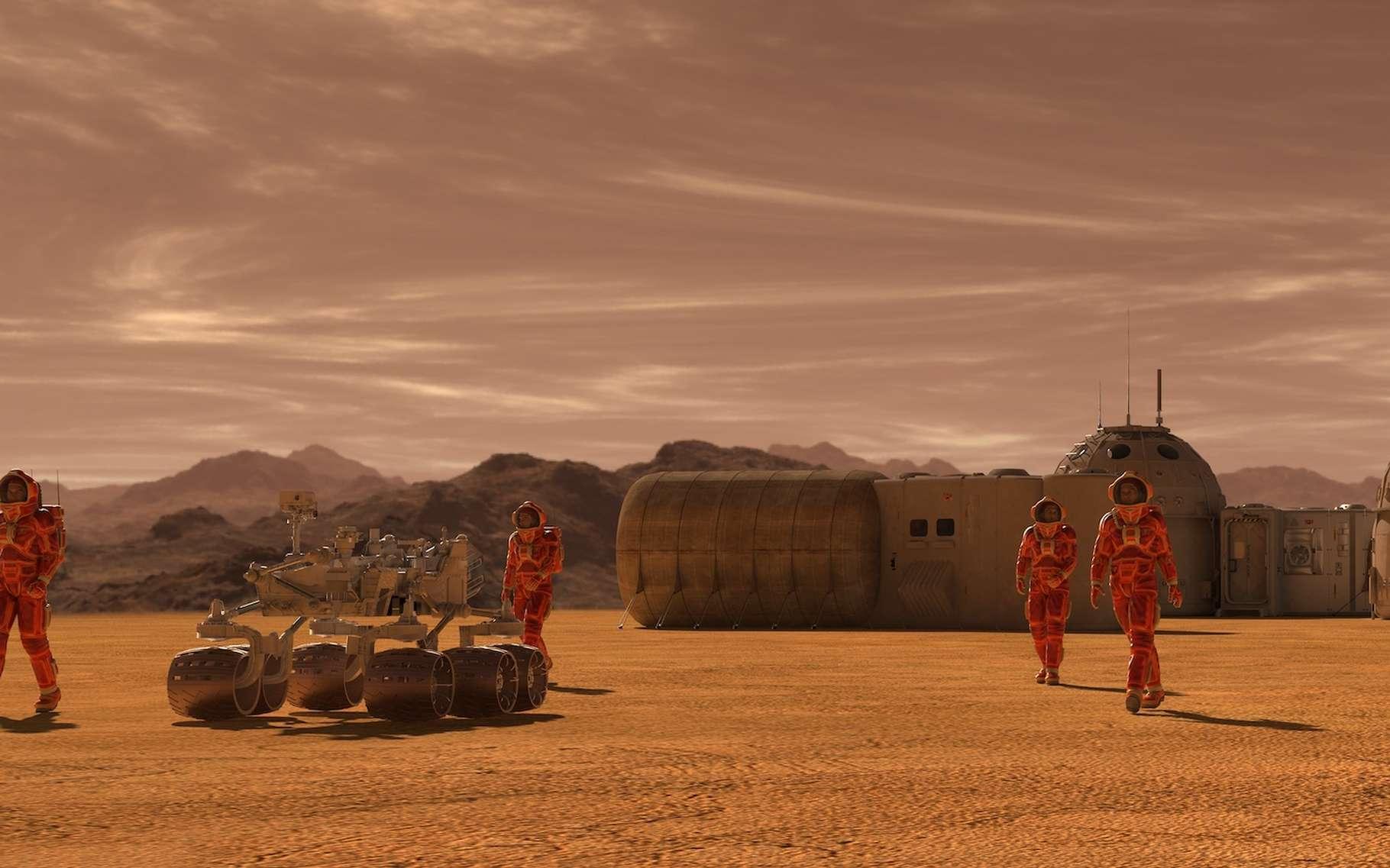 Pour assurer la survie d'une colonie installée sur Mars, il faudrait au moins 110 personnes et une société centrée sur la coopération. © elenaed, Adobe Stock