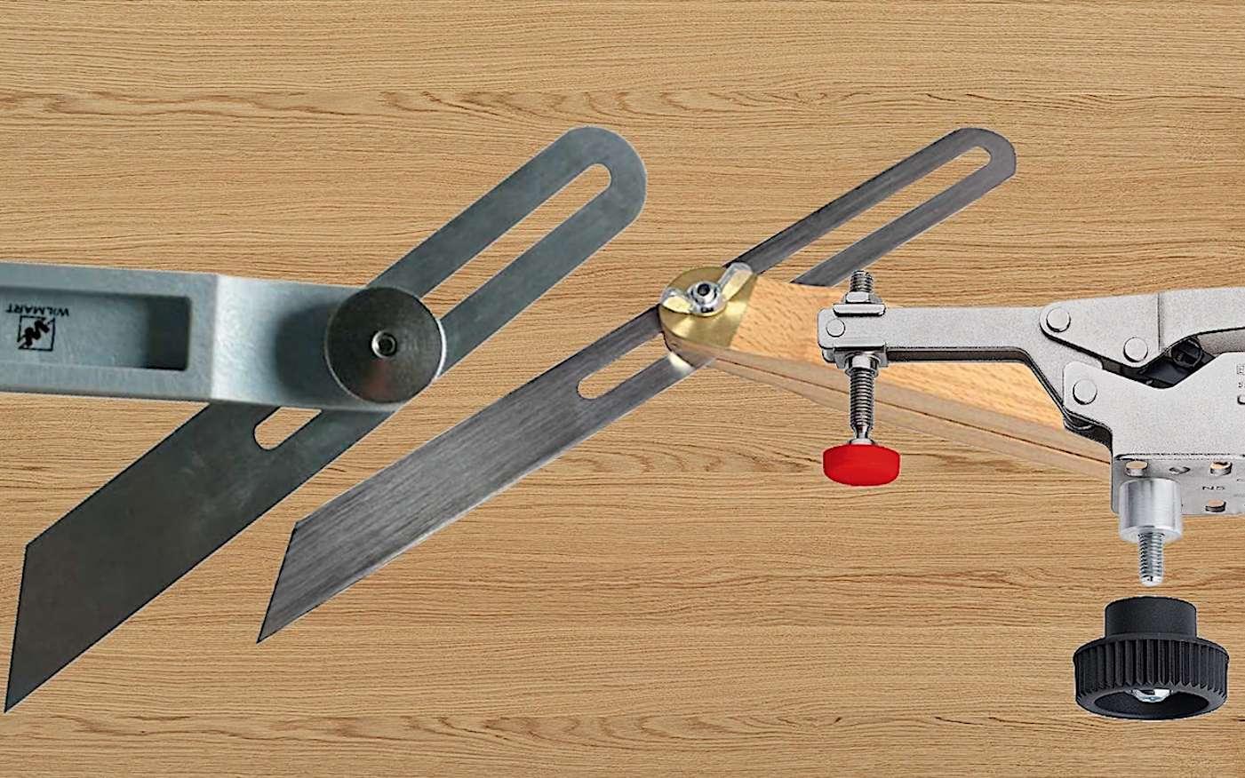 Sauterelles équerres Wilmart et sauterelle de serrage Bessey © Montage photo Futura Maison