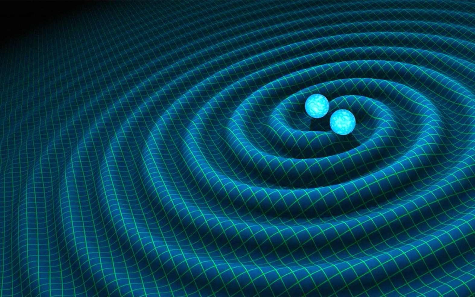 Une représentation d'artiste d'ondes gravitationnelles se propageant dans le tissu de l'espace-temps et rayonnées par un couple d'étoiles à neutrons spiralant l'un vers l'autre en perdant de l'énergie suite à l'émission de ces ondes. © R. Hurt Caltech-JPL