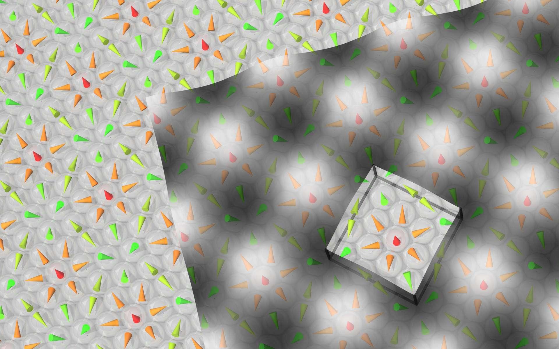 Un schéma de la cellule élémentaire carrée d'un cristal de Skyrme formée de quinze atomes de fer. Les cônes colorés indiquent l'orientation du moment magnétique propre de l'atome. Chaque carré contient un skyrmion. © Université de Hambourg