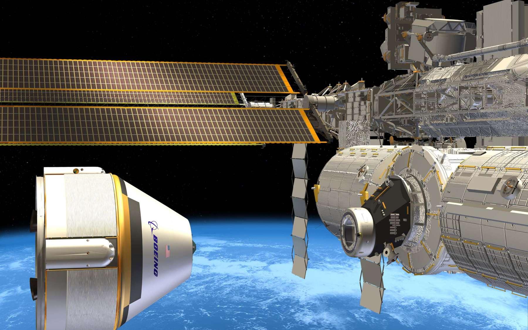 La capsule CST-100 de Boeing est conçue pour transporter jusqu'à sept astronautes. Elle devrait débuter son service commercial à destination de l'ISS à la fin de l'année 2018. © Boeing
