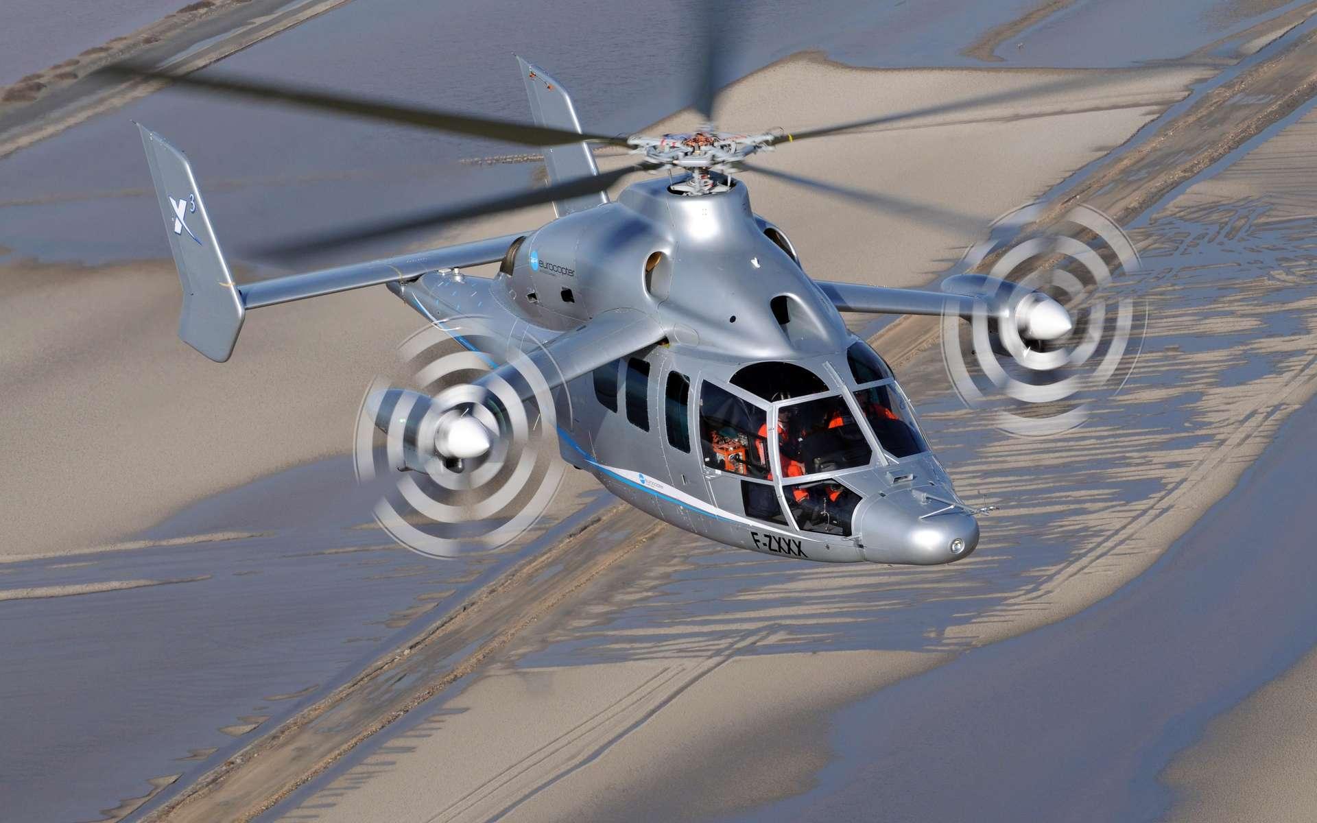 Le X3 est basé sur le populaire hélicoptère Dauphin avec un rotor principal à cinq pales et deux autres petits rotors installés sur de petites ailes fixes de chaque côté de l'appareil. Il est capable d'atteindre une vitesse de croisière de 400 km/h. © Eurocopter