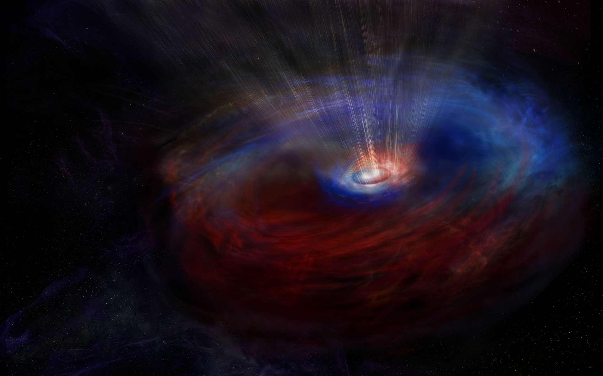 Impression d'artiste du cœur de la galaxie NGC 1068, qui abrite un trou noir supermassif en train de se nourrir activement, caché par un épais nuage de poussière et de gaz en forme de tore. Alma a découvert deux flux de gaz en contre-rotation autour du trou noir. Les couleurs de cette image représentent le mouvement du gaz : le bleu signale le gaz qui se déplace vers nous, le rouge celui qui s'éloigne. © NRAO / AUI / NSF, S. Dagnello