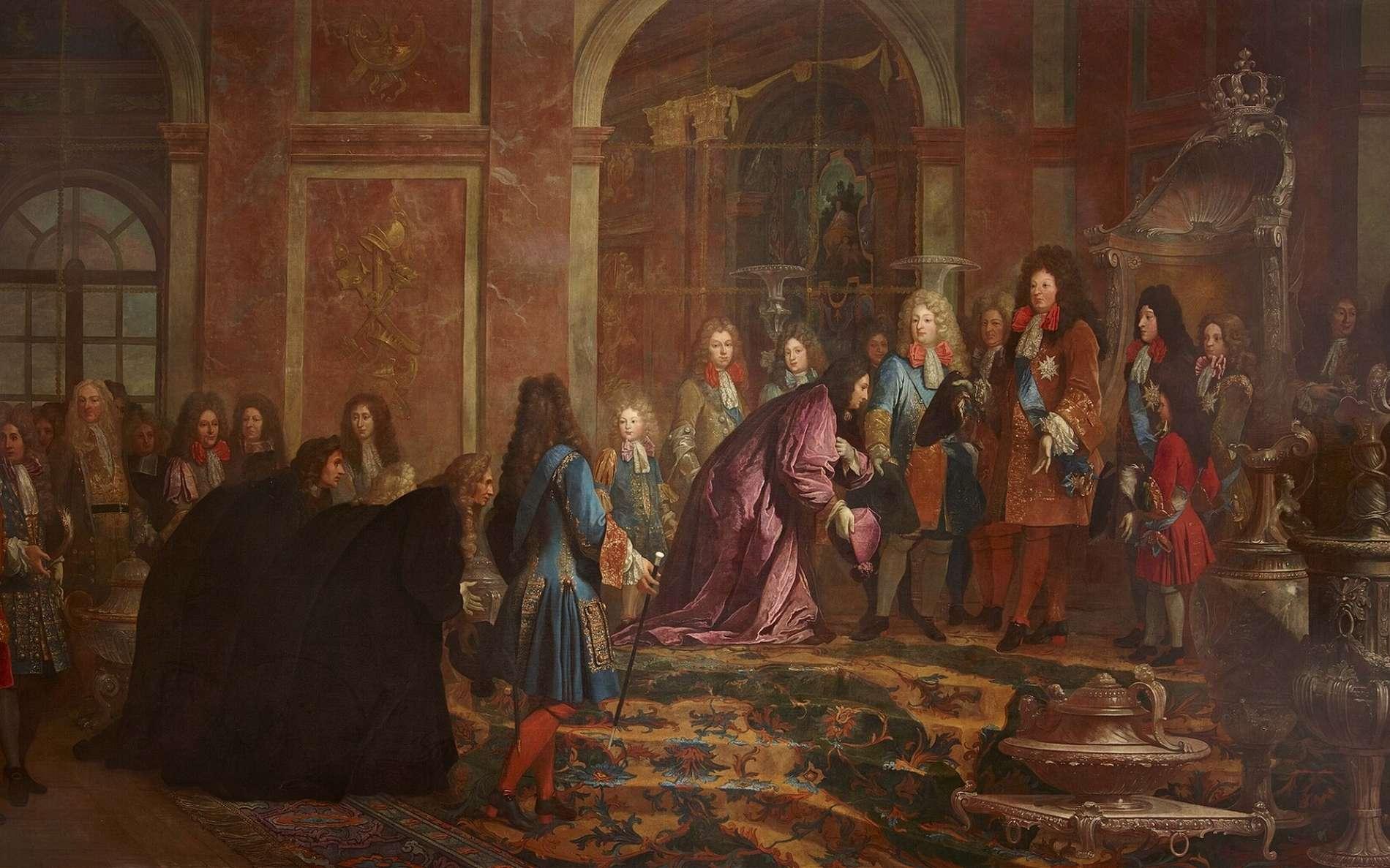 Louis XIV reçoit le doge de Gênes dans la Galerie des Glaces, à Versailles, en mai 1685. Carton de tapisserie réalisé par Claude-Guy Hallé en 1715, commandé par le roi à la manufacture des Gobelins. Château de Versailles. © Wikimedia Commons, domaine public