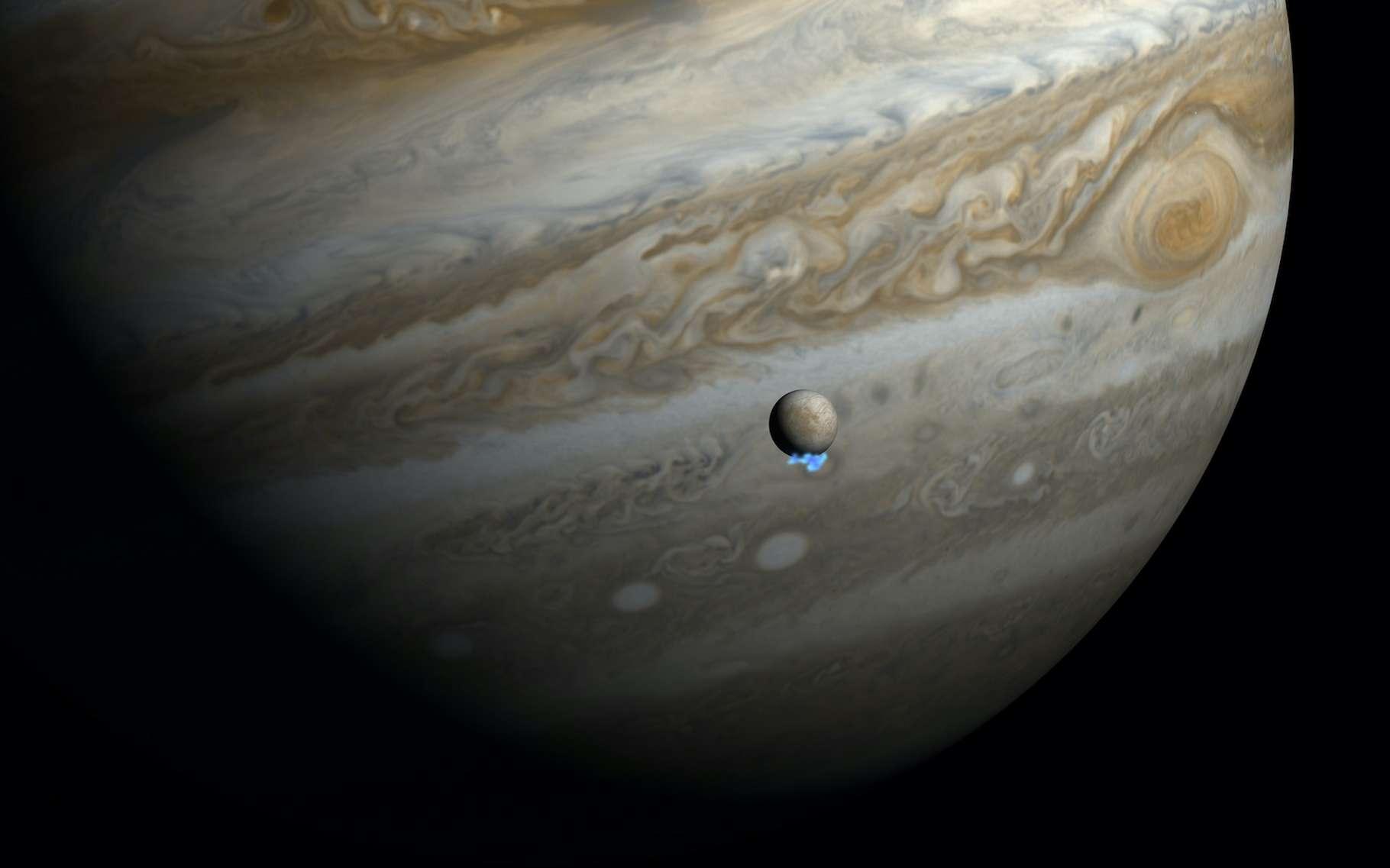Nouveaux indices que de l'eau jaillit d'Europe, une lune de Jupiter qui cacherait un océan