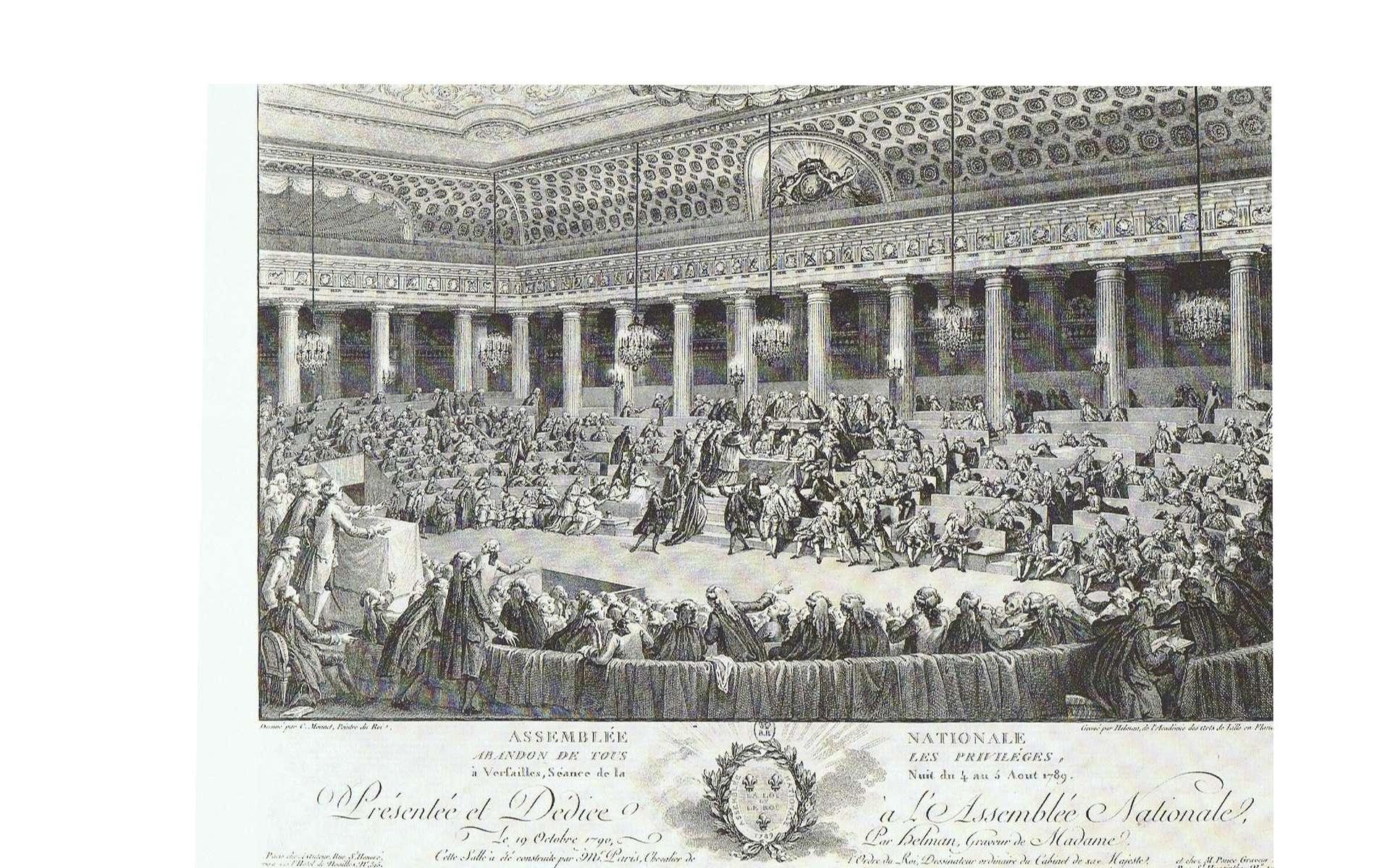 Durant la nuit du 4 août 1789, les députés de l'Assemblée Constituante ont voté l'abolition des privilèges et droits féodaux. Dessin de Monnet gravé par Helman. © Musée de la Révolution française, Vizil (Isère), Wikimedias Commons