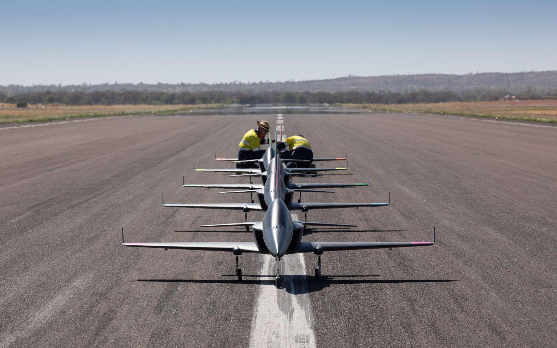 Boeing a développé un pilotage automatique capable de faire voler 5 jets en formation. © Boeing
