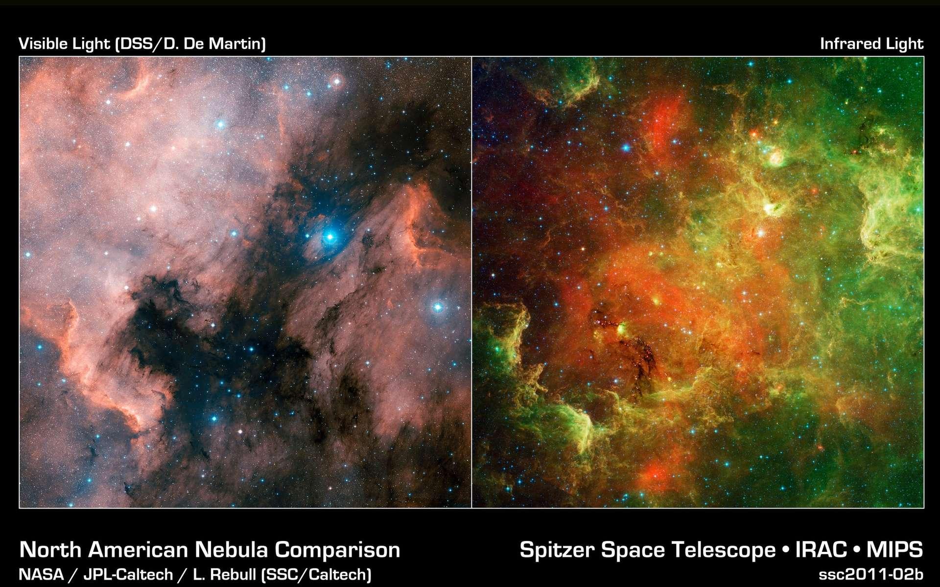 Comparaison de deux images de la nébuleuse NGC 7000, à gauche dans le visible, à droite la vision de Spitzer dans l'infrarouge. © Nasa/JPL-Caltech/L. Rebull (SSC-Caltech)
