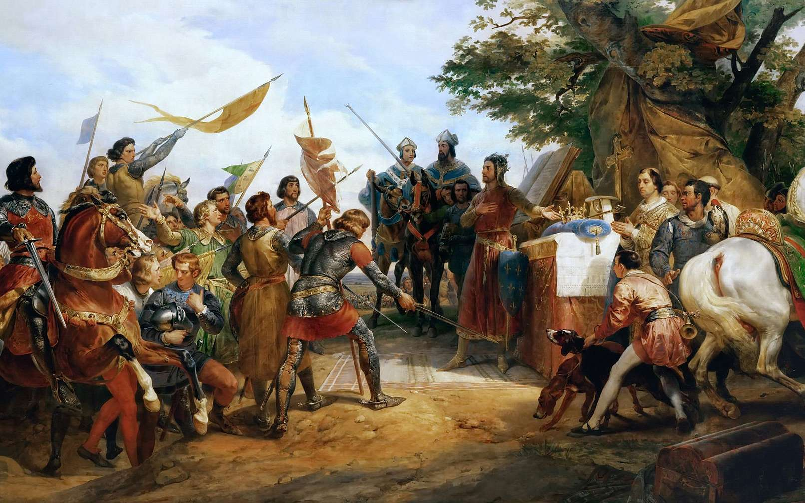Des rois capétiens, Philippe Auguste est celui qui a le plus considérablement agrandi le royaume. Peinture de Horace Vernet (1789 - 1863). © PHGCOM, Wikimedia Commons, Domaine Public
