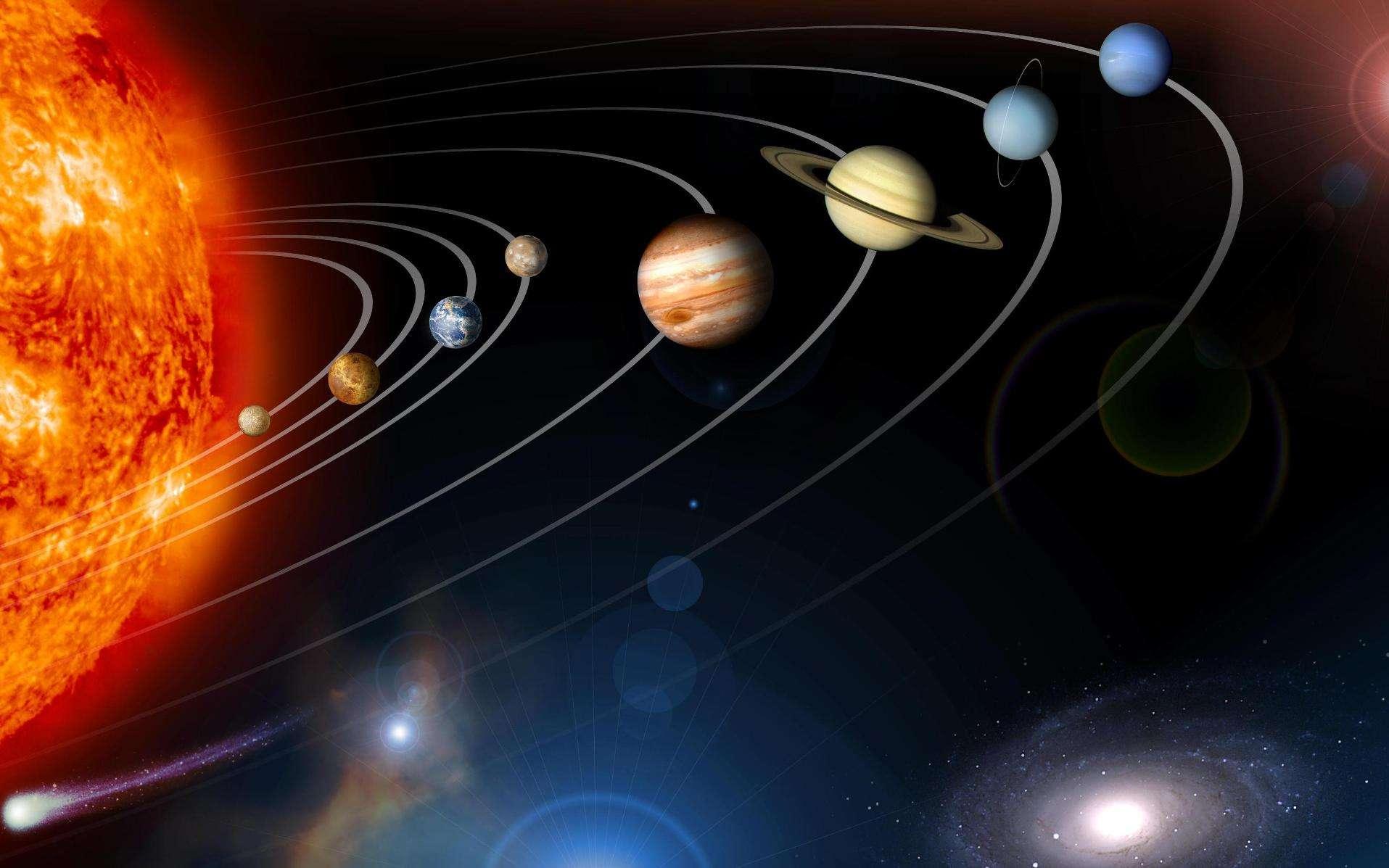 Une vue d'artiste du Système solaire. Les tailles ne sont pas respectées. © Nasa