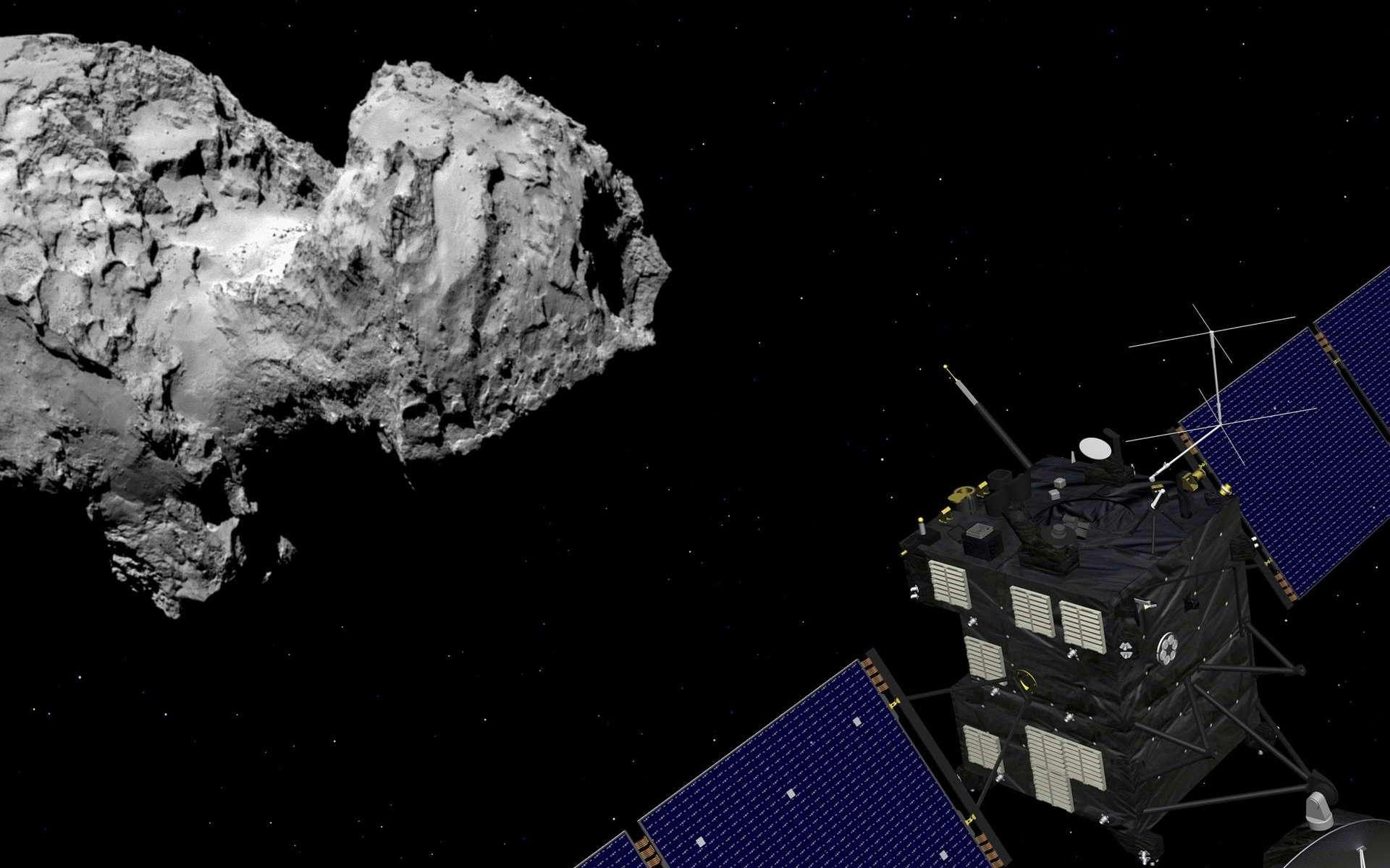De la glace carbonique a été détectée sur une comète pour la première fois. Ici, une vue d'artiste de Rosetta en orbite autour de Tchouri. © ESA