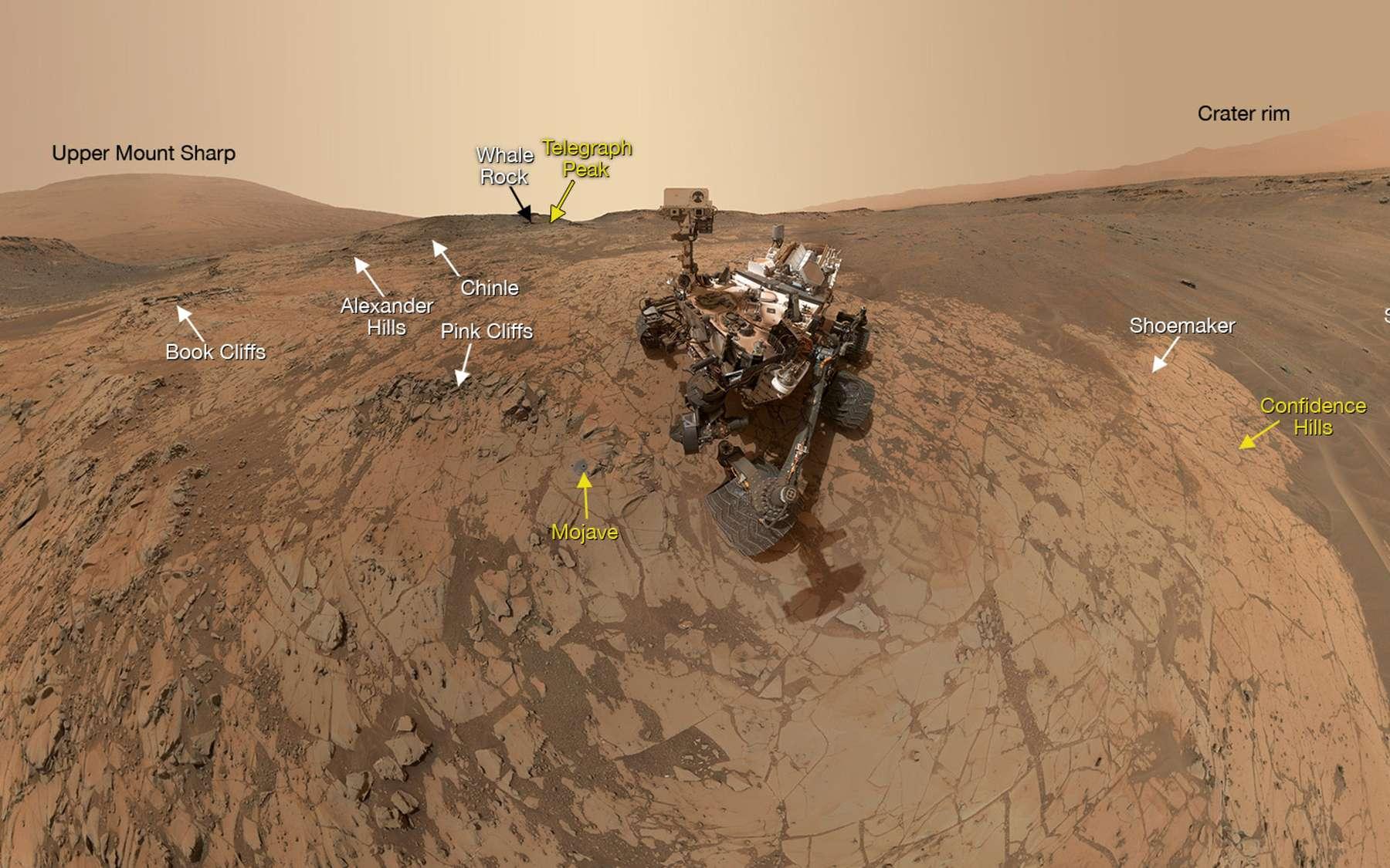 Le rover Curiosity se situe actuellement sur Pahrump Hills. En jaune les dispositifs géologiques déjà étudiés. © Nasa, JPL