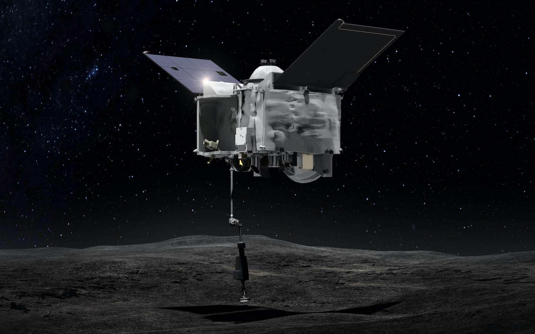Une vue d'artiste d'Osiris-Rex prélevant des échantillons à la surface de l'astéroïde géocroiseur Bennu. La mission est désormais en route pour la Terre. © Goddard Space Flight Center, Nasa