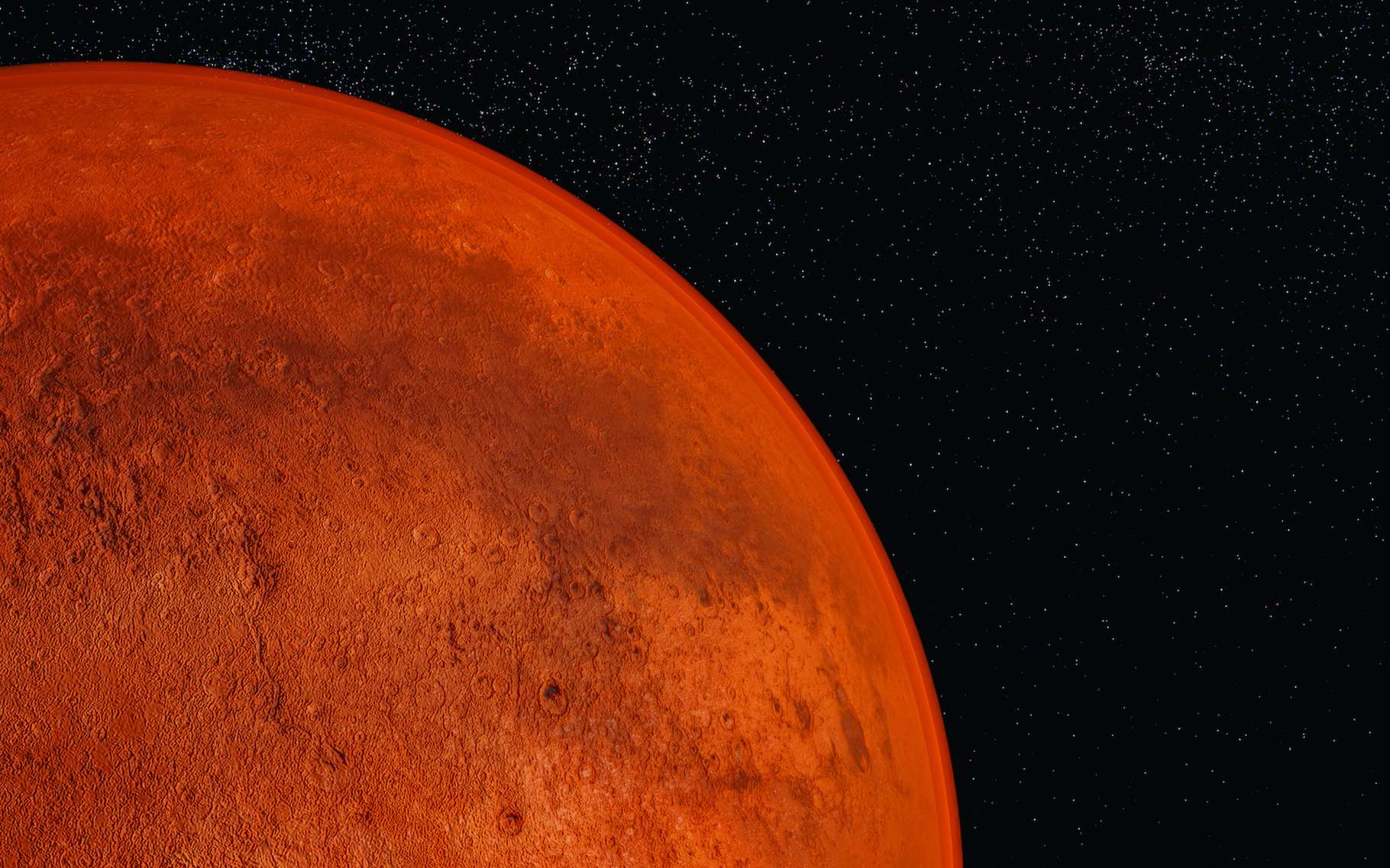 La planète Mars se présente aujourd'hui à nous comme un monde désertique. Mais cela n'a pas toujours été le cas. Pour expliquer comment l'eau qui coulait sur la Planète rouge il y a des milliards d'années a disparu, des chercheurs de l'Institut de technologie de Californie (Caltech, États-Unis) suggèrent aujourd'hui un piégeage par la croûte martienne. © rtype, Adobe Stock