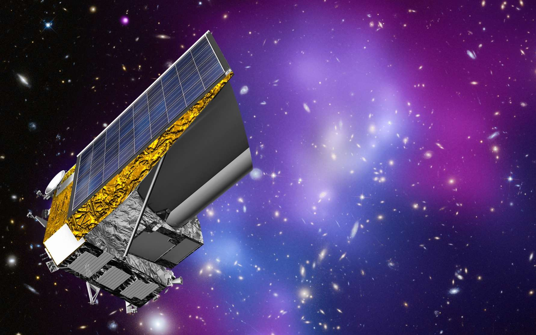 Une simulation géante de l'univers permettra-t-elle de percer les secrets de la matière noire ? Ici, une vue d'artiste de la mission Euclid. © ESA, C. Carreau, CC by-sa 3.0