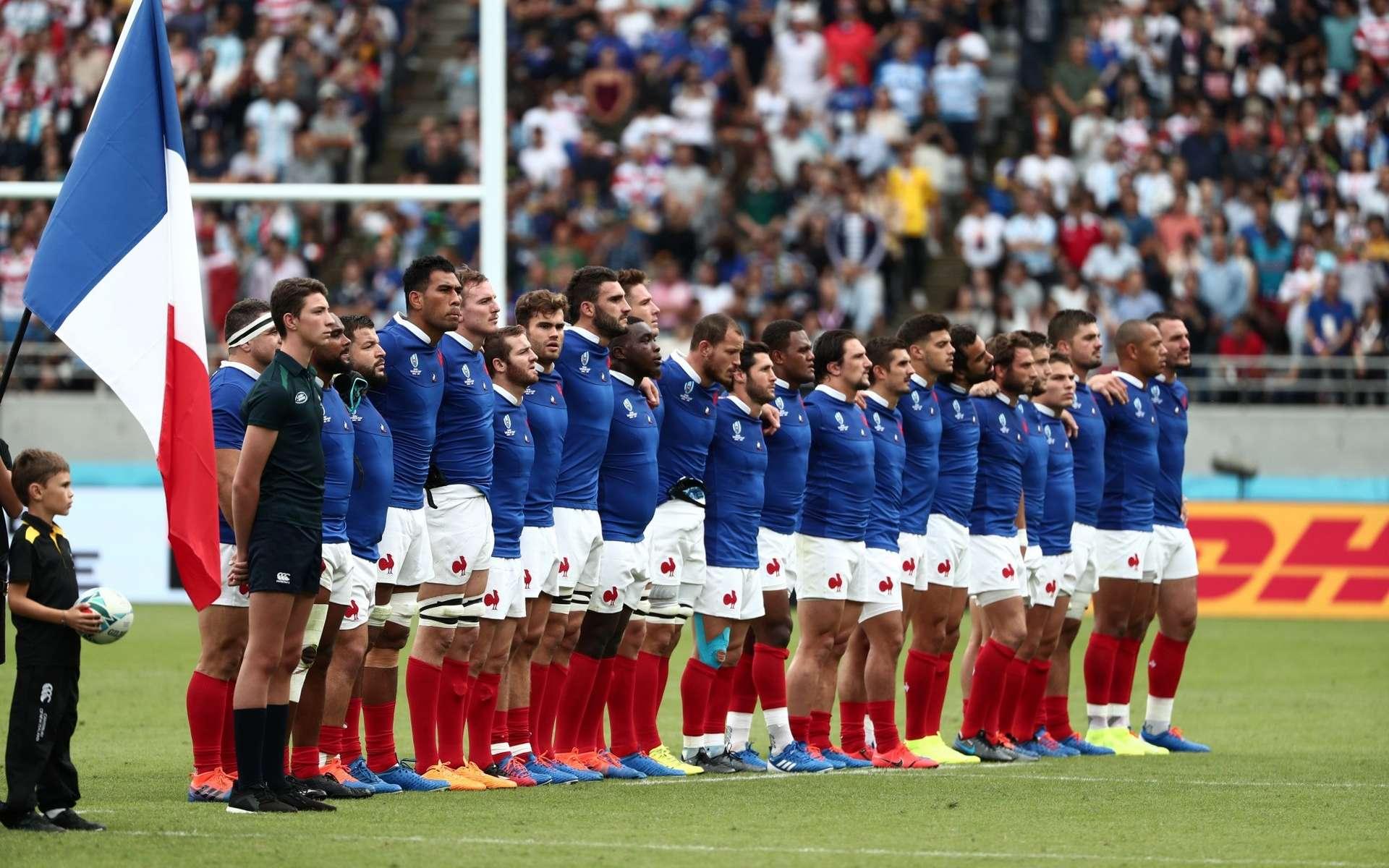 Quinze de France avant son match contre l'Argentine, coupe du monde de rugby, 21/09/2019 à Tokyo. © Behrouz MEHRI / AFP.