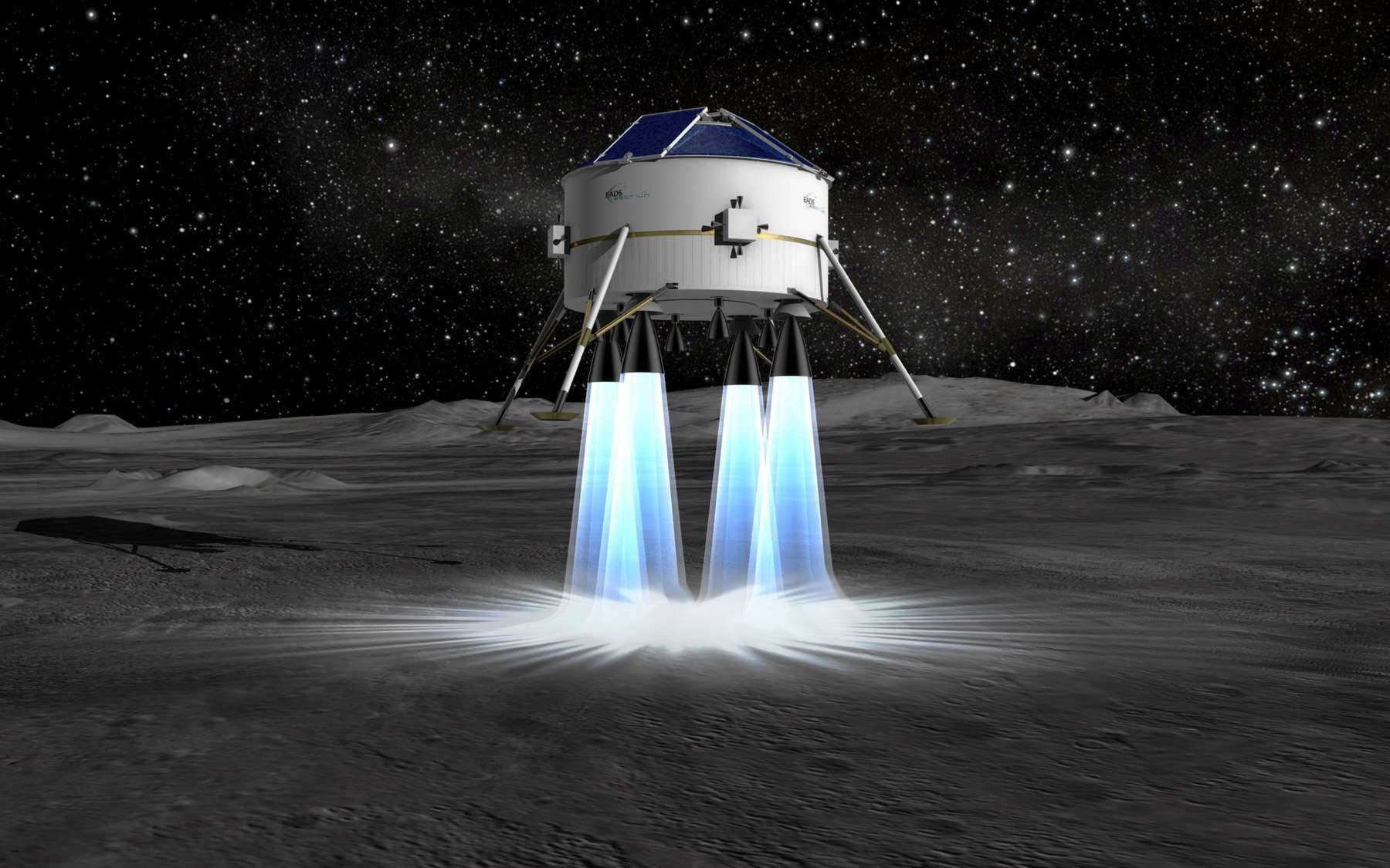 Pour l'Europe, ce serait évidemment une grande première que de débarquer sur la Lune. Sa seule mission lunaire a consisté à envoyer autour de la Lune en 2003 le petit démonstrateur Smart-1 propulsé par un moteur ionique. © Astrium