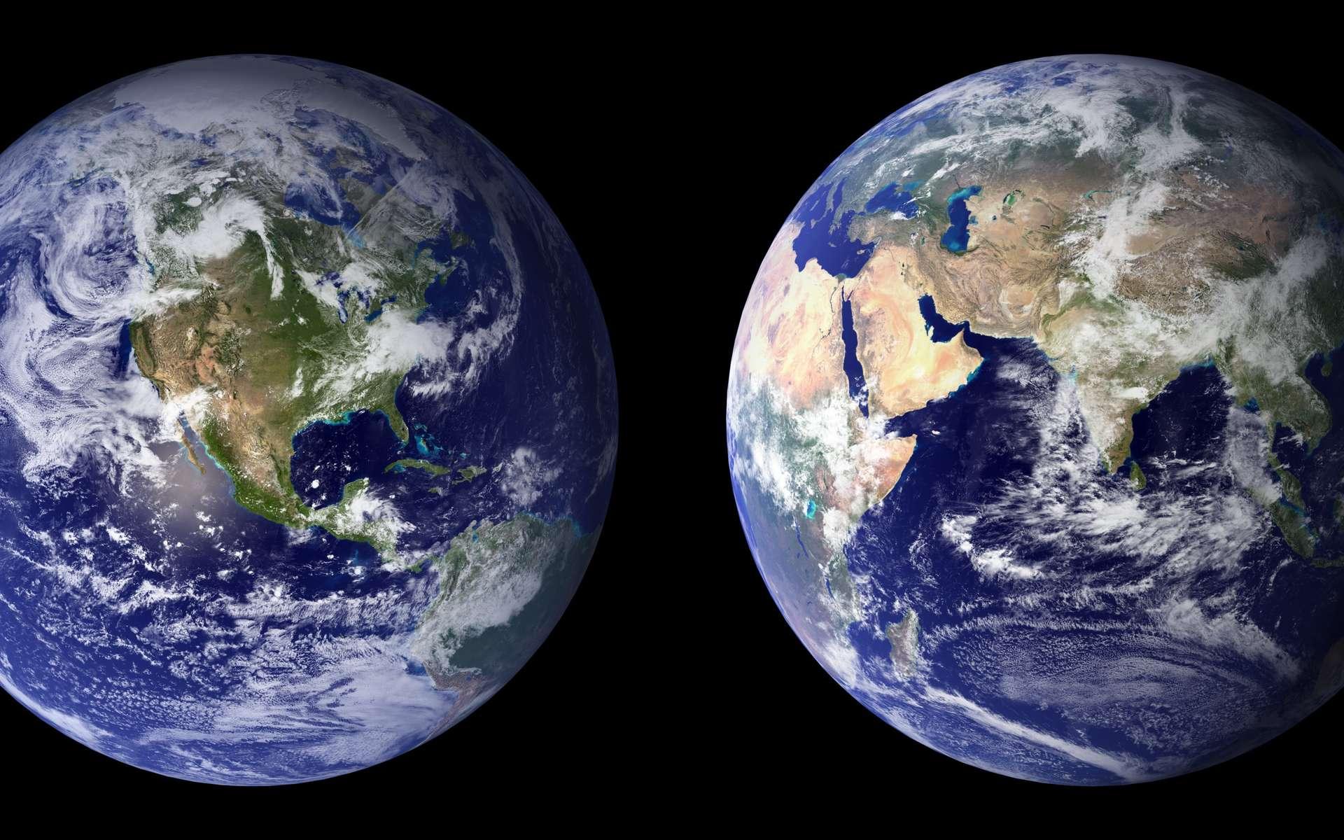 Vue de l'espace, la planète Terre apparaît essentiellement bleue. Différents phénomènes physiques entrent en jeu. © Nasa, Wikimedia Commons, DP