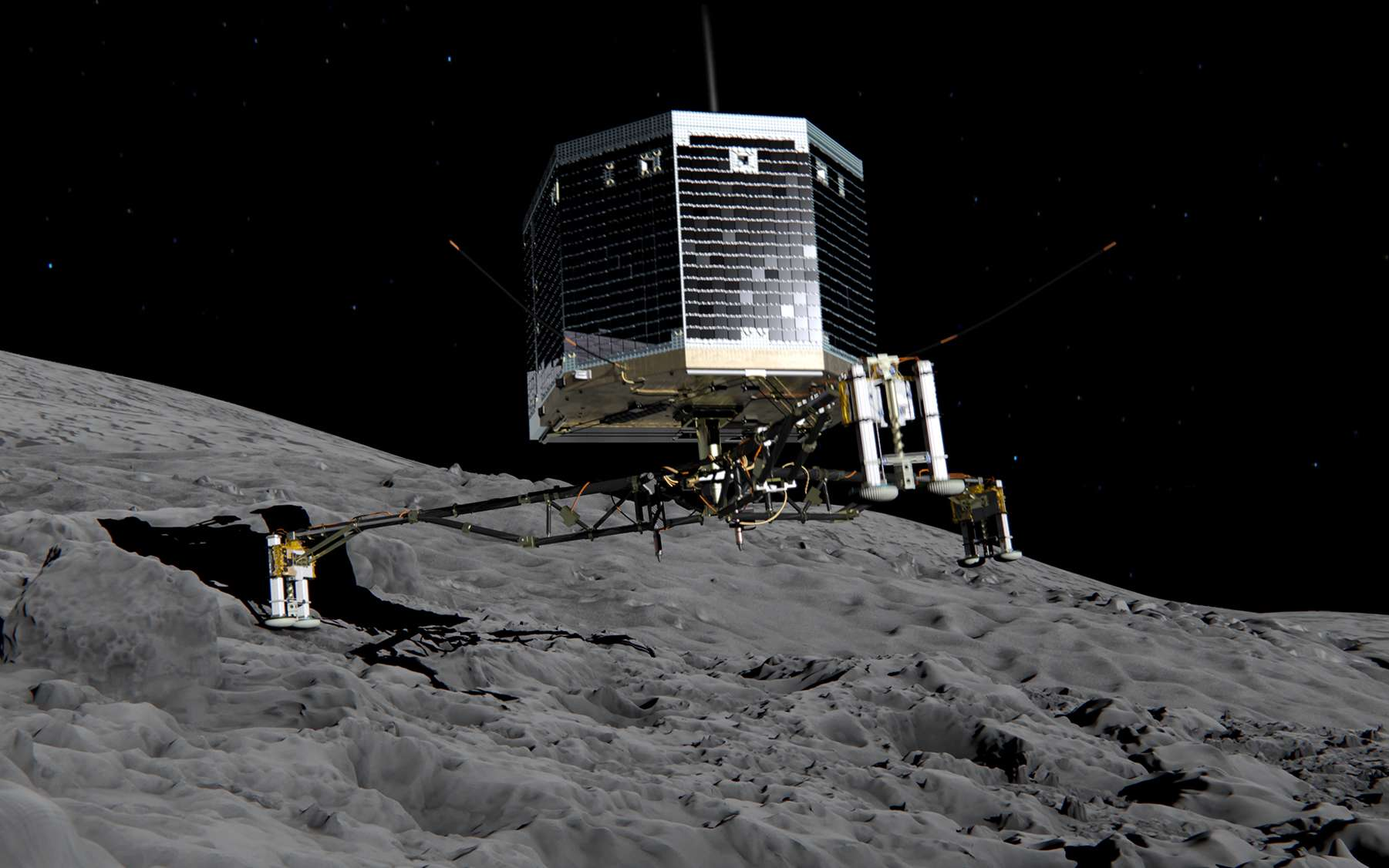 Illsutration de Philae à la surface du noyau de la comète Tchouri. © ESA
