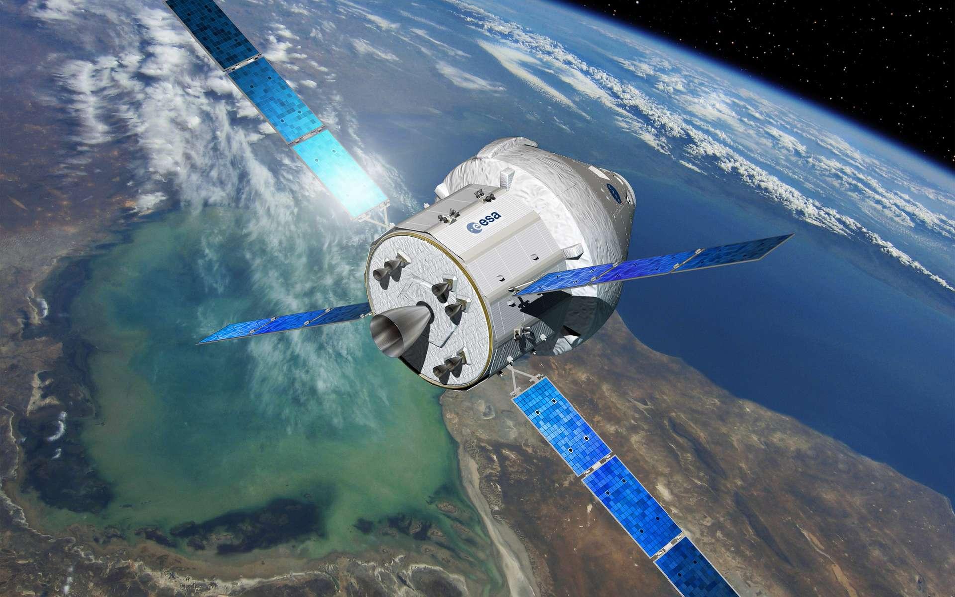 Ce futur véhicule d'exploration de la Nasa s'apparente aux capsules Apollo du programme lunaire américain des années 1960 et 1970. Cependant, avec un diamètre de 5 mètres et un volume d'air pressurisé de 20 mètres cubes, contre 10 mètres cubes pour Apollo, Orion sera bien plus grand et surtout capable de transporter deux fois plus d'astronautes (6 contre 3). Les missions seront également différentes. Si celles d'Apollo se limitaient à la Lune, ce véhicule est conçu pour voyager au-delà de la Lune (astéroïdes, Mars, point de Lagrange). © Esa, D. Ducros