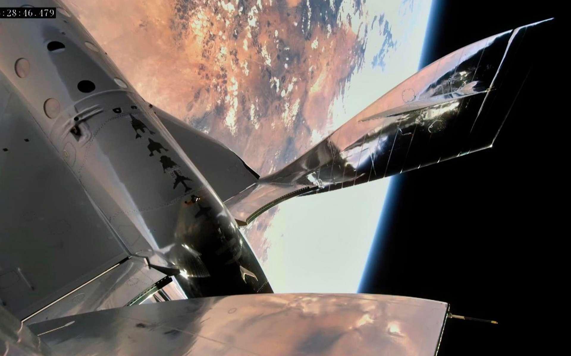 Le VSS Unity de Virgin Galactic lors du troisième vol spatial de la société de Richard Branson à près de 90 kilomètres d'altitude. © Virgin Galactic