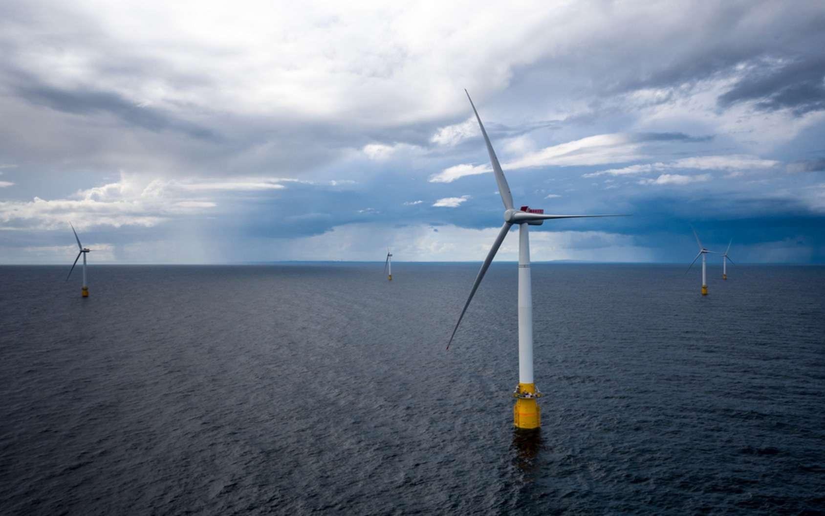Le parc éolien d'Hywind Scotland se compose de cinq éoliennes flottantes. © Øyvind Gravås, Statoil