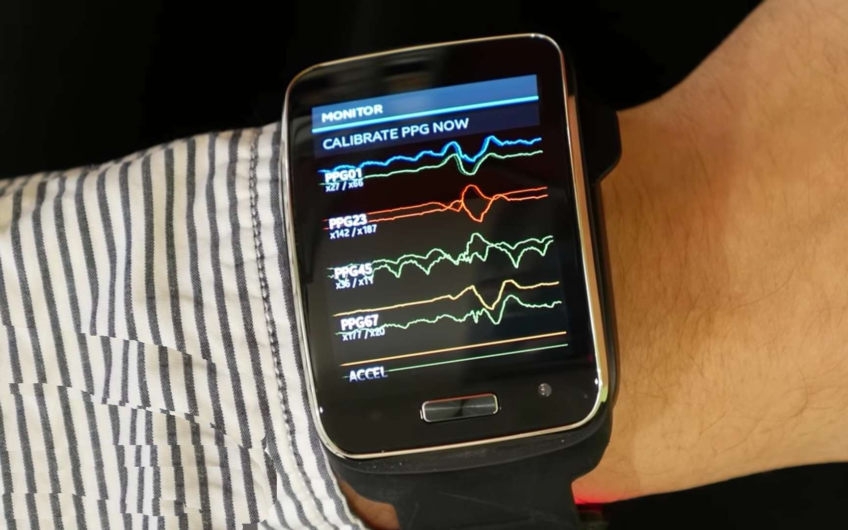 Les scientifiques ont testé ce dispositif sur des participants portant une montre Samsung Simband, capable de recueillir des ondes physiologiques à haute résolution. © Courtesy of Samsung, Simbad