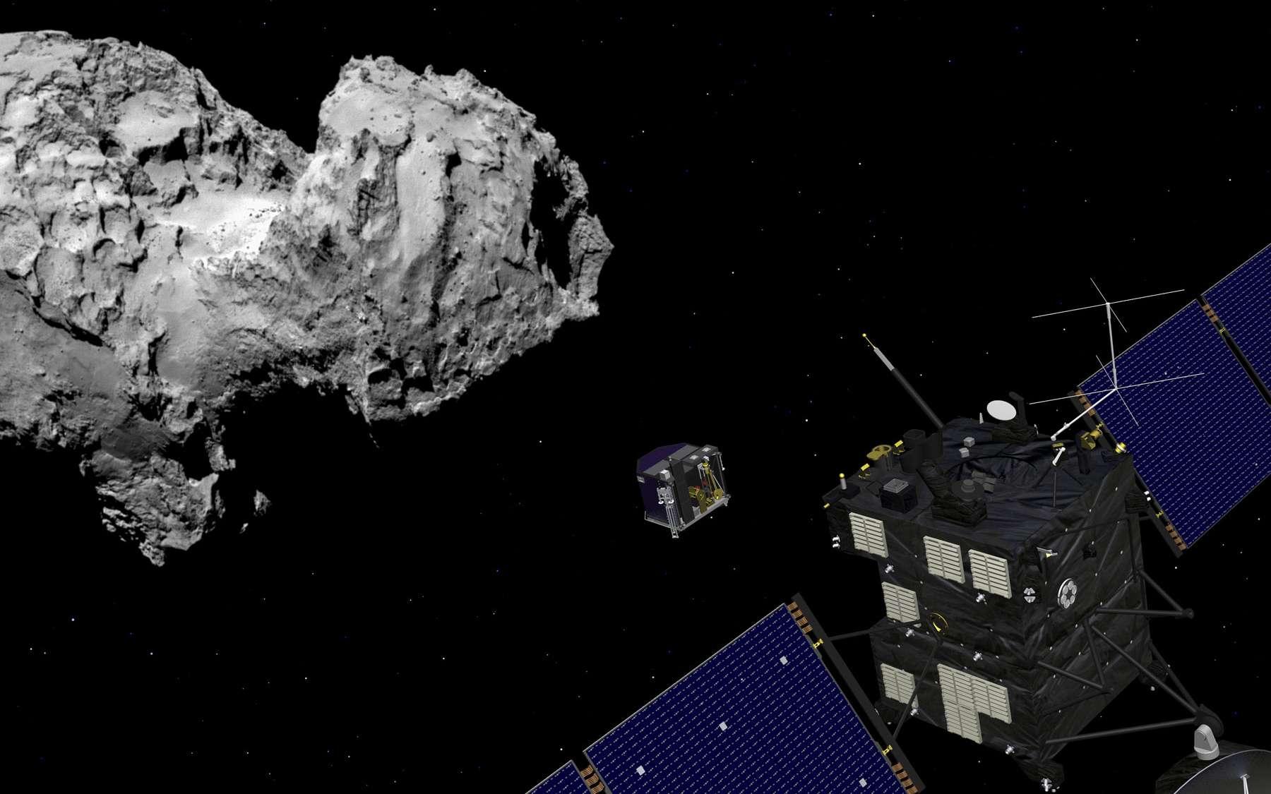 Philae tombera comme une pierre sur la comète. Cet atterrisseur suivra en effet une trajectoire balistique. Il faudra bien viser. © Esa, J. Huart / image comète Esa/Rosetta/MPS for OSIRIS Team MPS/UPD/LAM/IAA/SSO/INTA/UPM/DASP/IDA