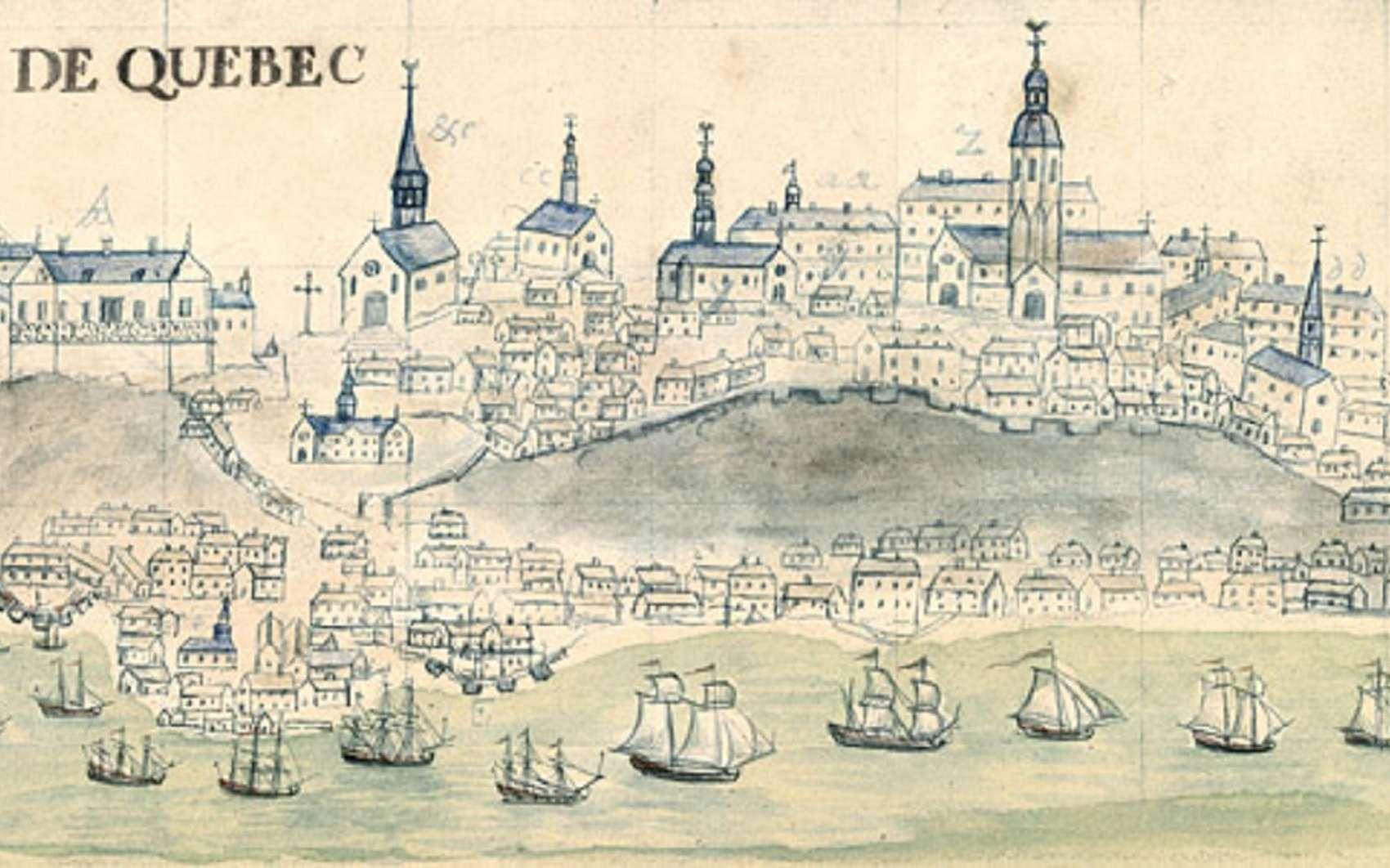Vue de Québec datée de 1729, par Mahier. © Bibliothèque nationale de France, département des cartes et plans, domaine public.