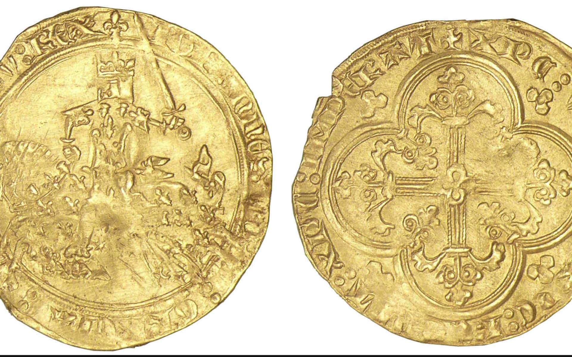 La monnaie au Moyen Âge était rarement utilisée par la population rurale. Ici, monnaie Jean II Le Bon, franc à cheval. © Monnaies d'antan, Google Images