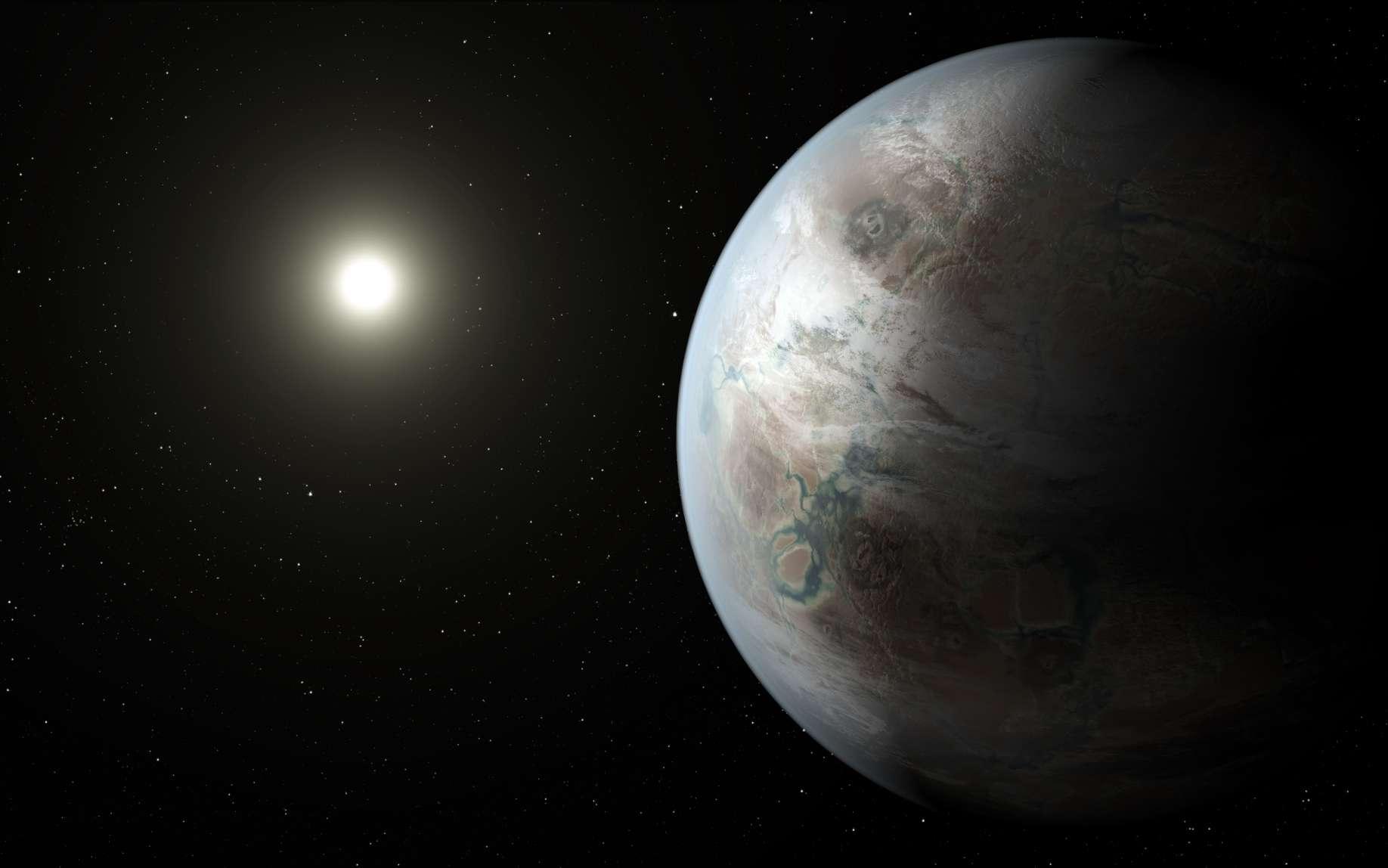Une vue d'artiste de Kepler 452b. L'exoplanète tourne en un peu plus d'un an terrestre autour d'une étoile de type G2, comme le Soleil, mais plus âgée que lui. De l'eau liquide existe peut-être à sa surface car elle se trouve dans la zone d'habitabilité. © Nasa Ames, JPL-Caltech, T. Pyle