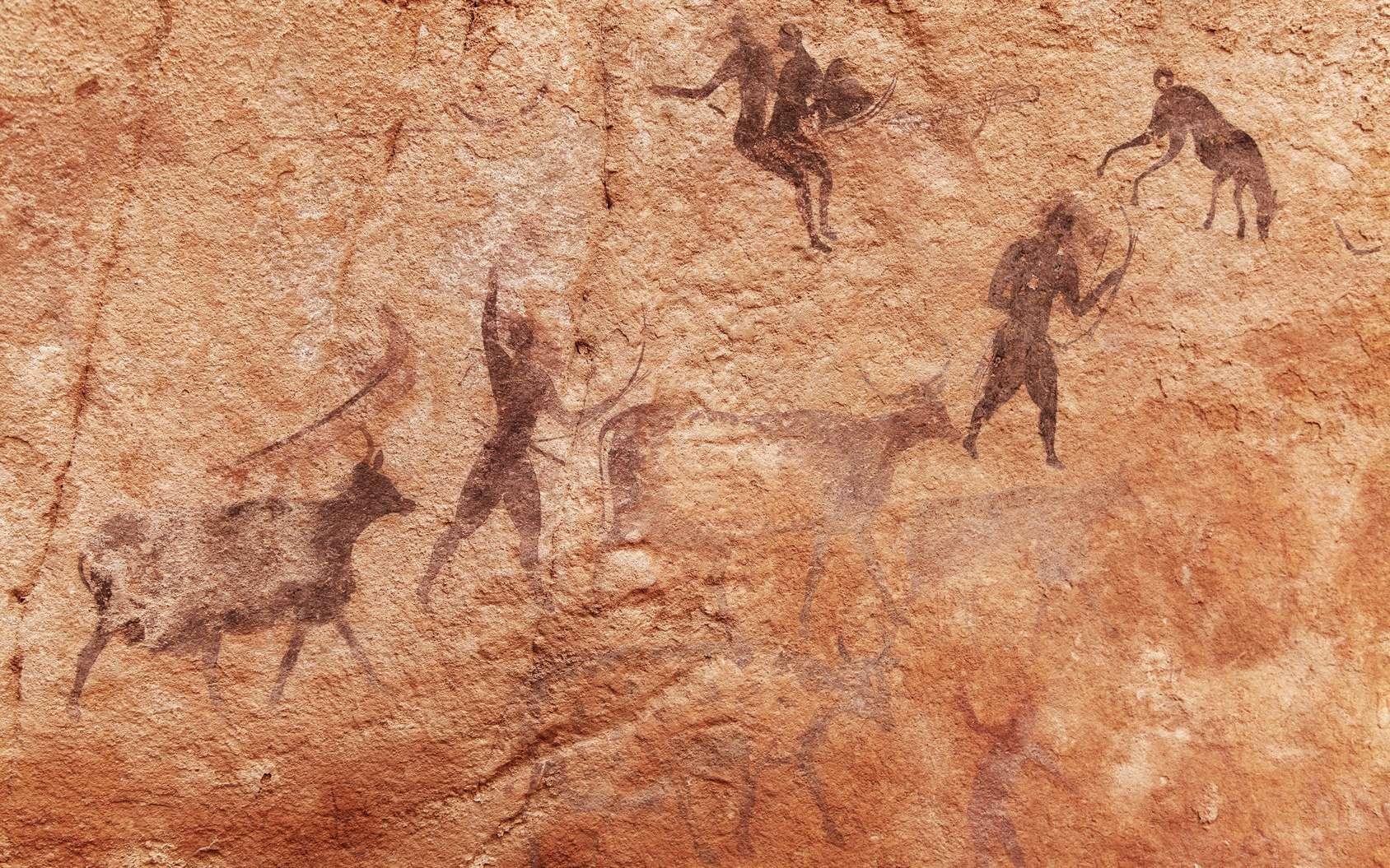 Peintures dans la grotte de Tassili N'Ajjer en Algérie. © Dmitry Pichugin, Fotolia