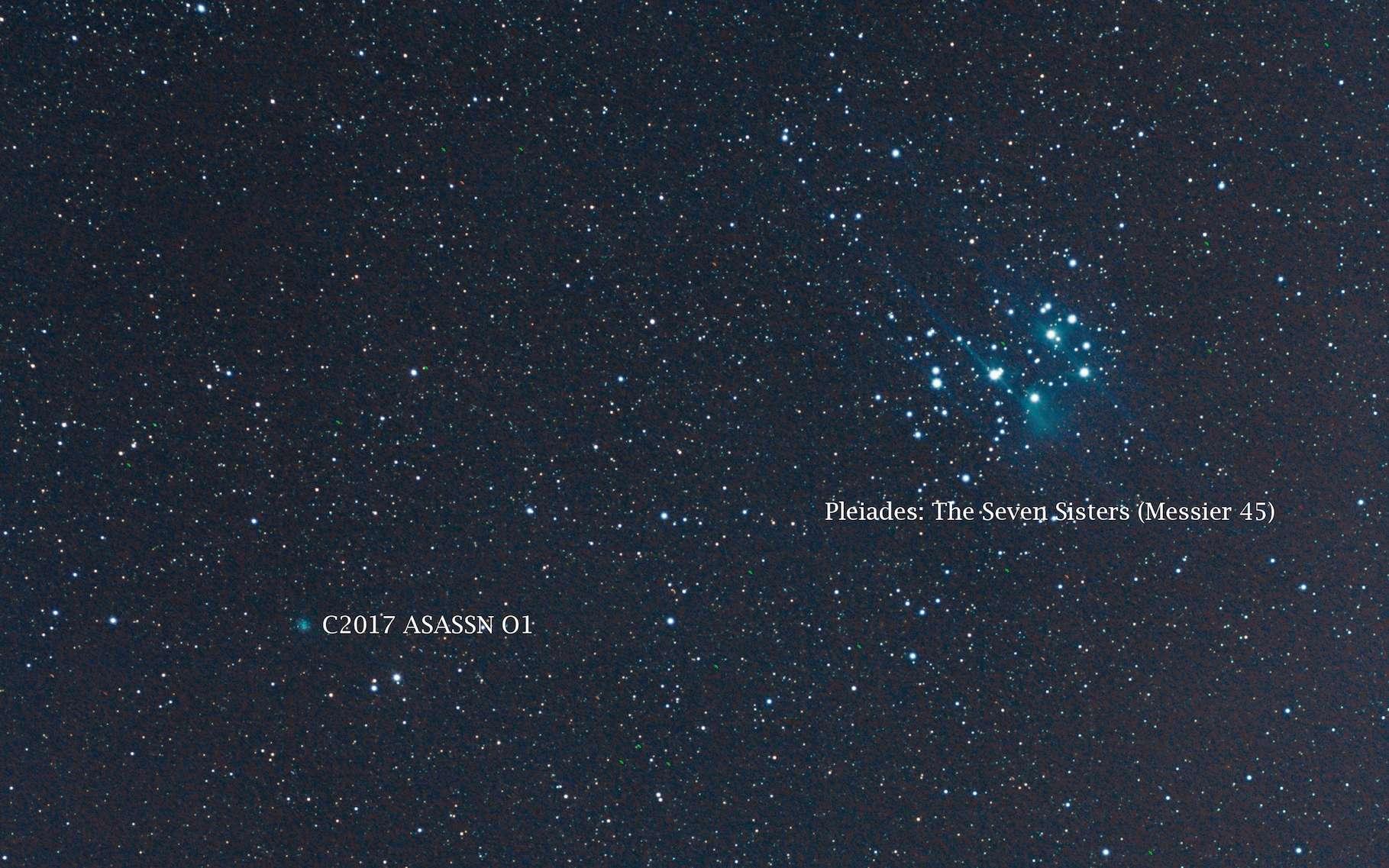 La C/2017 O1 (ASASSN1) photographiée le 18 septembre à l'occasion de son passage à proximité (visuelle) de la grappe d'étoiles des Pléiades. © Greg Hogan