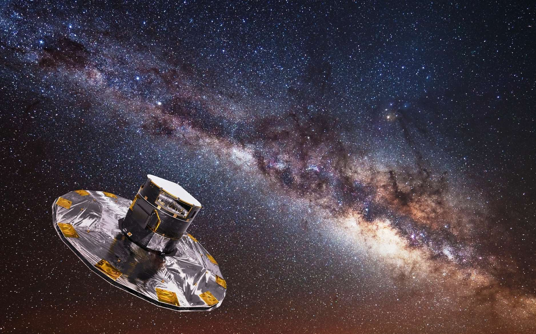 Une vue d'artiste du satellite Gaia étudiant la Voie lactée. © Esa