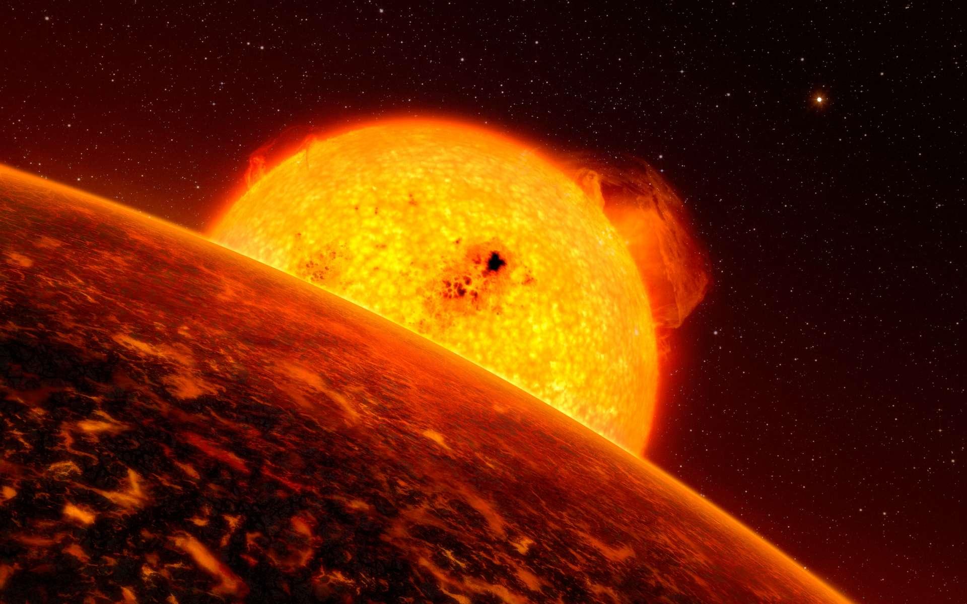 L'exoplanète Corot-7b est proche de son étoile, ressemblant au Soleil, et doit endurer d'extrêmes conditions. Cette planète a une masse environ cinq fois plus grande que celle de la Terre. Elle est en fait l'exoplanète que l'on connaît la plus proche de son étoile, qui fait d'elle également la plus rapide, elle orbite son étoile à une vitesse de plus de 750.000 kilomètres par heure. La probable température sur sa surface est au-dessus de 2.000 degrés durant la journée mais de moins 200 degrés la nuit. Des modèles théoriques suggèrent que la planète est peut-être couverte de lave et d'océans bouillants. Un artiste a produit une impression de ce à quoi la planète pourrait ressembler si elle était couverte de lave. La planète sœur, Corot-7c, peut être vue dans la distance. © ESO, L. Calcada