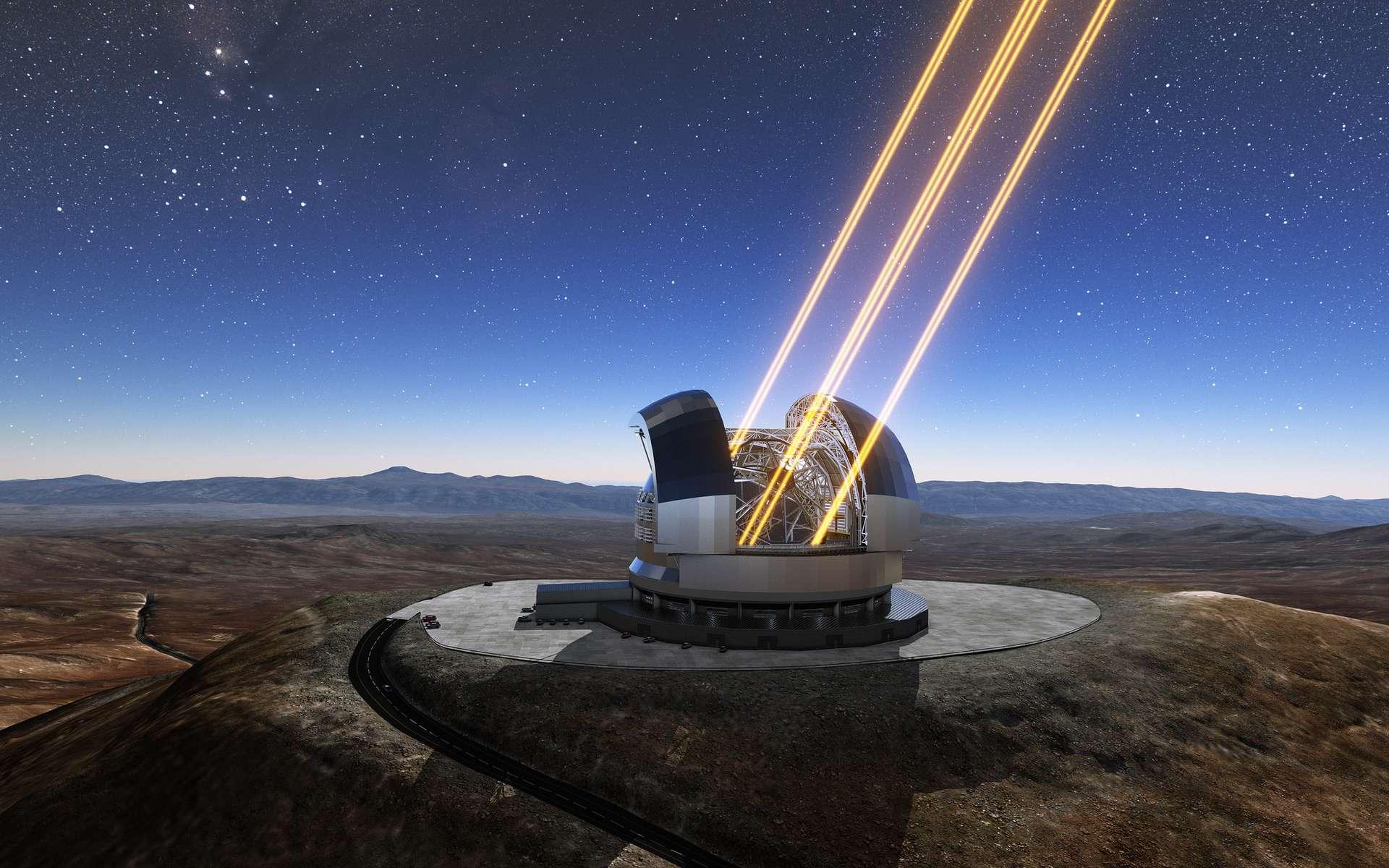 Une vue d'artiste du futur ELT (Extremely Large Telescope) en opération. La première pierre de ce télescope monumental a été posée en mai 2017. En 2024, il devrait ouvrir son œil de 39 mètres de diamètre sur le cosmos. © ESO, L. Calçada