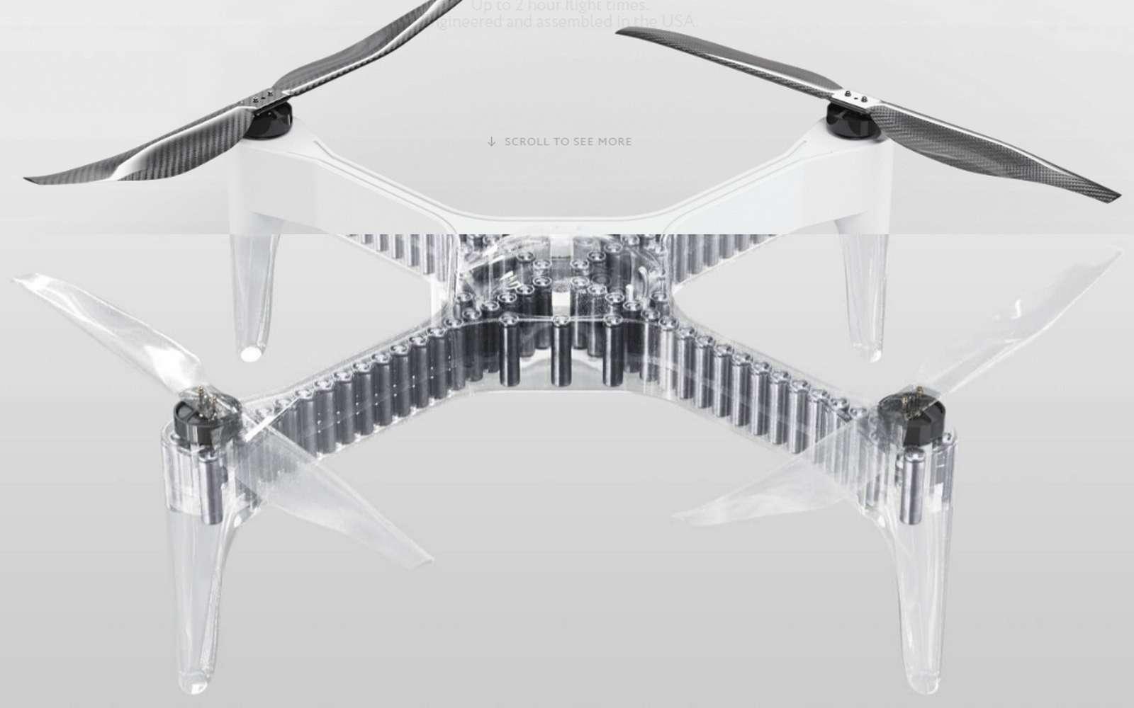 Une vue par transparence de l'intérieur du châssis du drone US-1 qui renferme des dizaines de batteries lithium-ion. © Impossible Aerospace