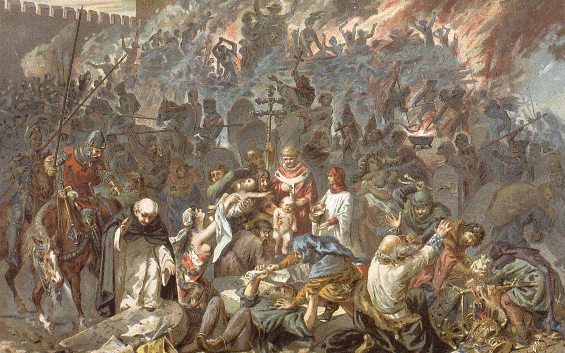 Pogrom de Strasbourg le 14 février 1349. Peinture d'Émile Schweitzer. © Bibliothèque nationale et universitaire de Strasbourg