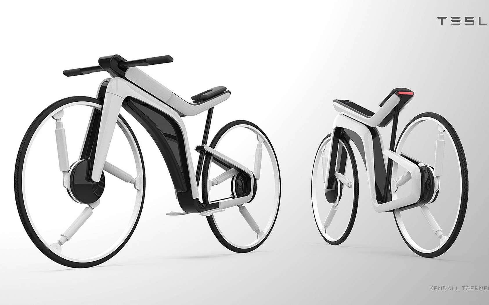 Le vélo électrique Tesla Model B imaginé par Kendall Toerner. © Kendall Toerner