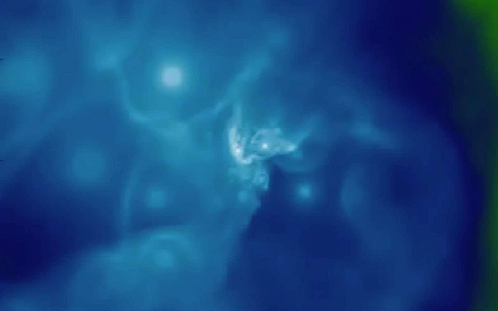 Une modélisation de Sagittarius A*, entouré de plusieurs étoiles de Wolf-Rayet. © Sean Ressler, Chris White