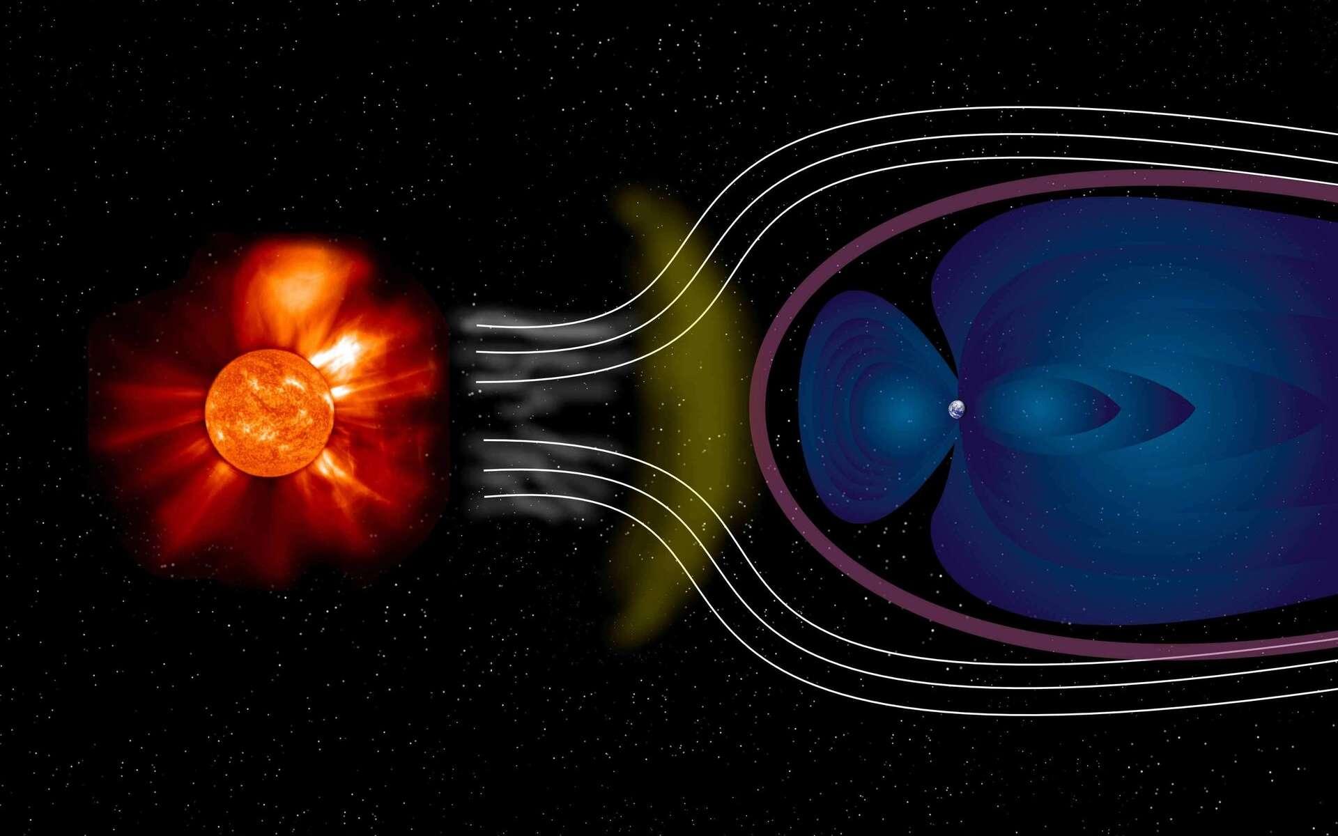 Une vue d'artiste du vent solaire comprimant les lignes de champs du bouclier magnétique de la Terre, protégeant son atmosphère de l'action d'érosion de ce champ. © Esa