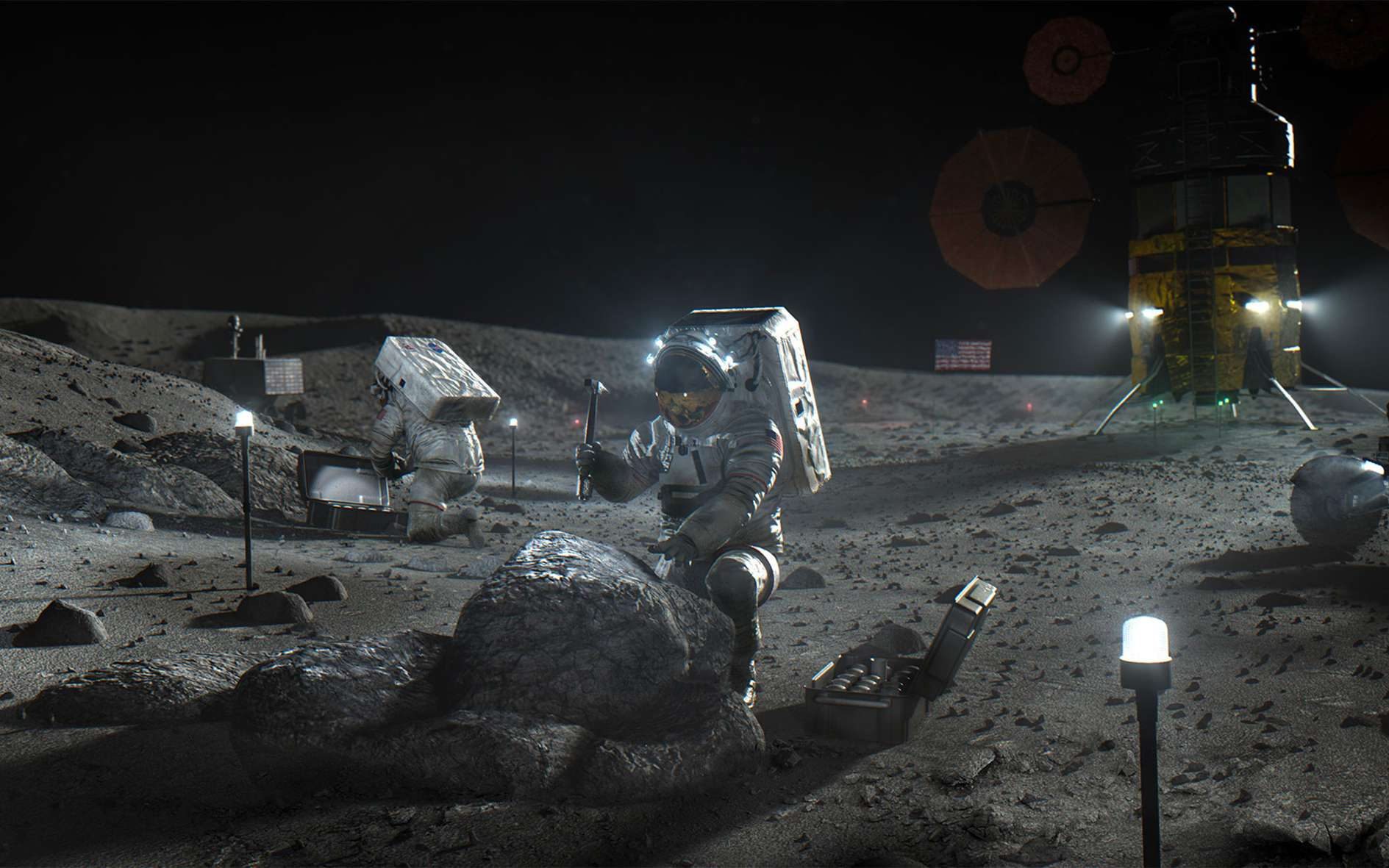 Le Camp de base Artemis qui sera installé dès Artemis 3 en 2024, année visée pour le retour des Américains sur la Lune. © Nasa